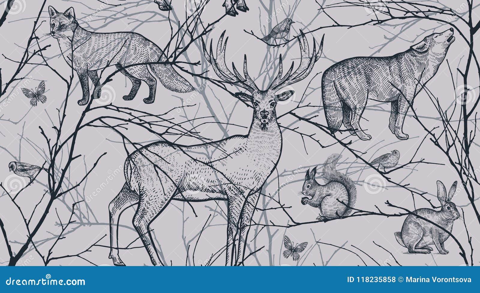 Modelo inconsútil con los animales del bosque, los pájaros y las ramas de árbol