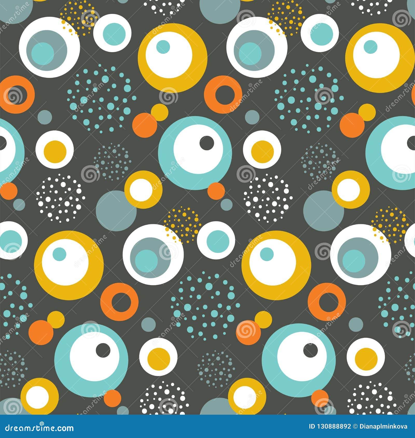 Modelo inconsútil con los círculos en Aqua Blue y oro