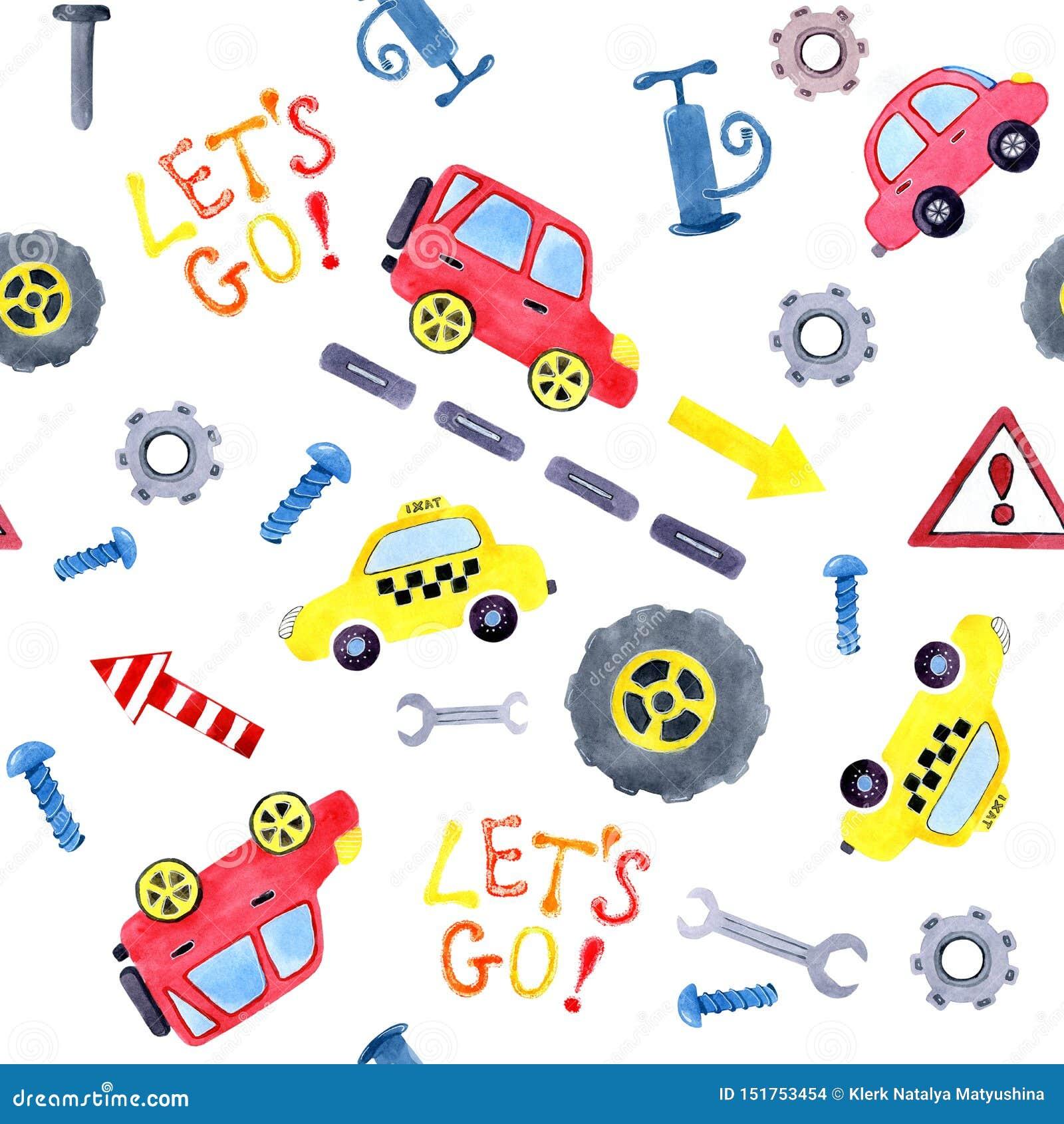 Modelo inconsútil con los coches de la historieta de la acuarela y los recambios Diseño de la ropa de los niños, papel pintado, e
