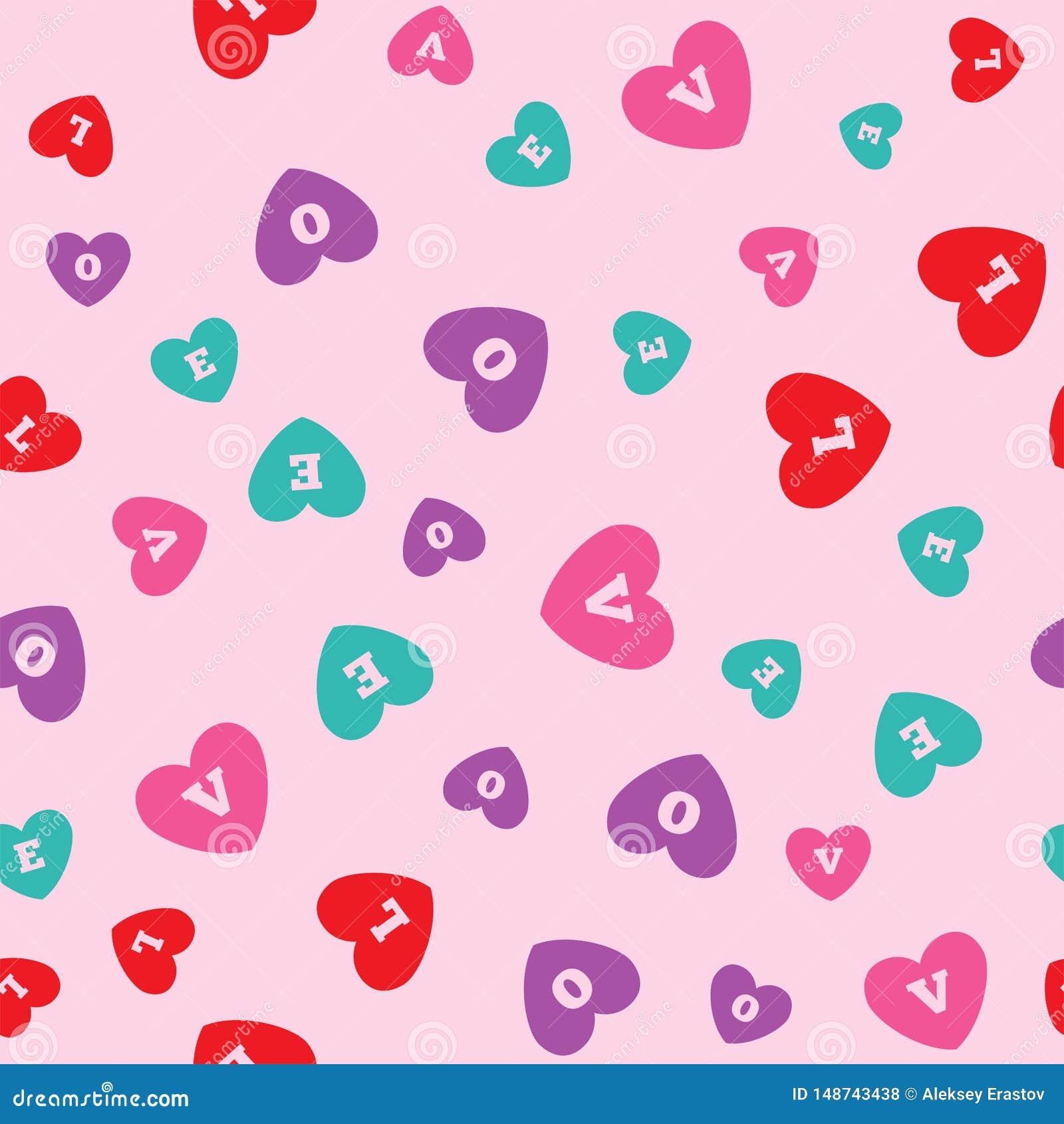 Modelo inconsútil con los corazones coloreados con las letras L, O, V, E Impresi?n rom?ntica Ilustraci?n del vector