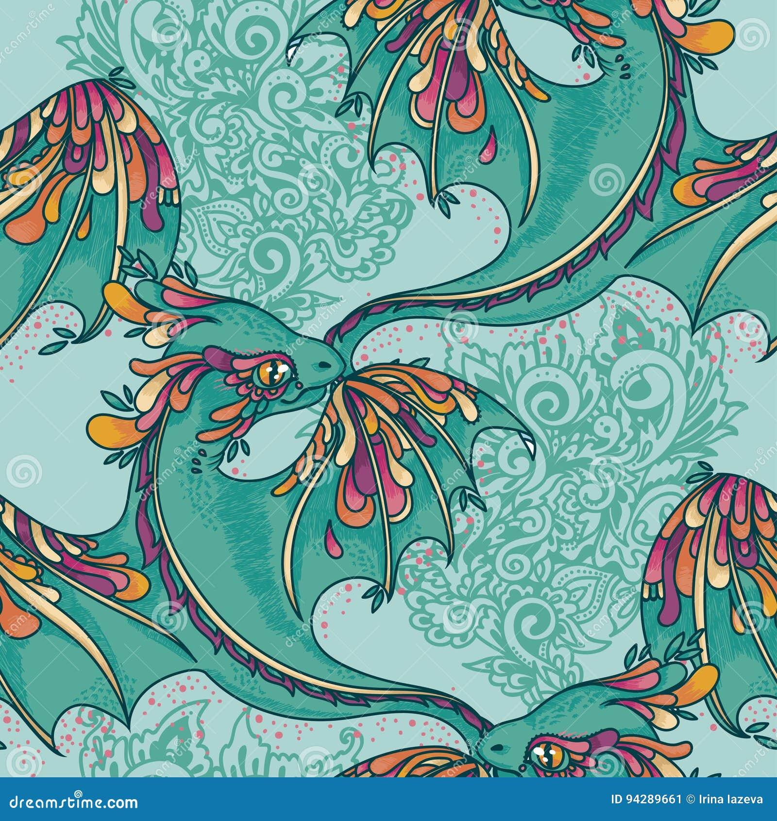 Modelo inconsútil con los dragones coloridos lindos