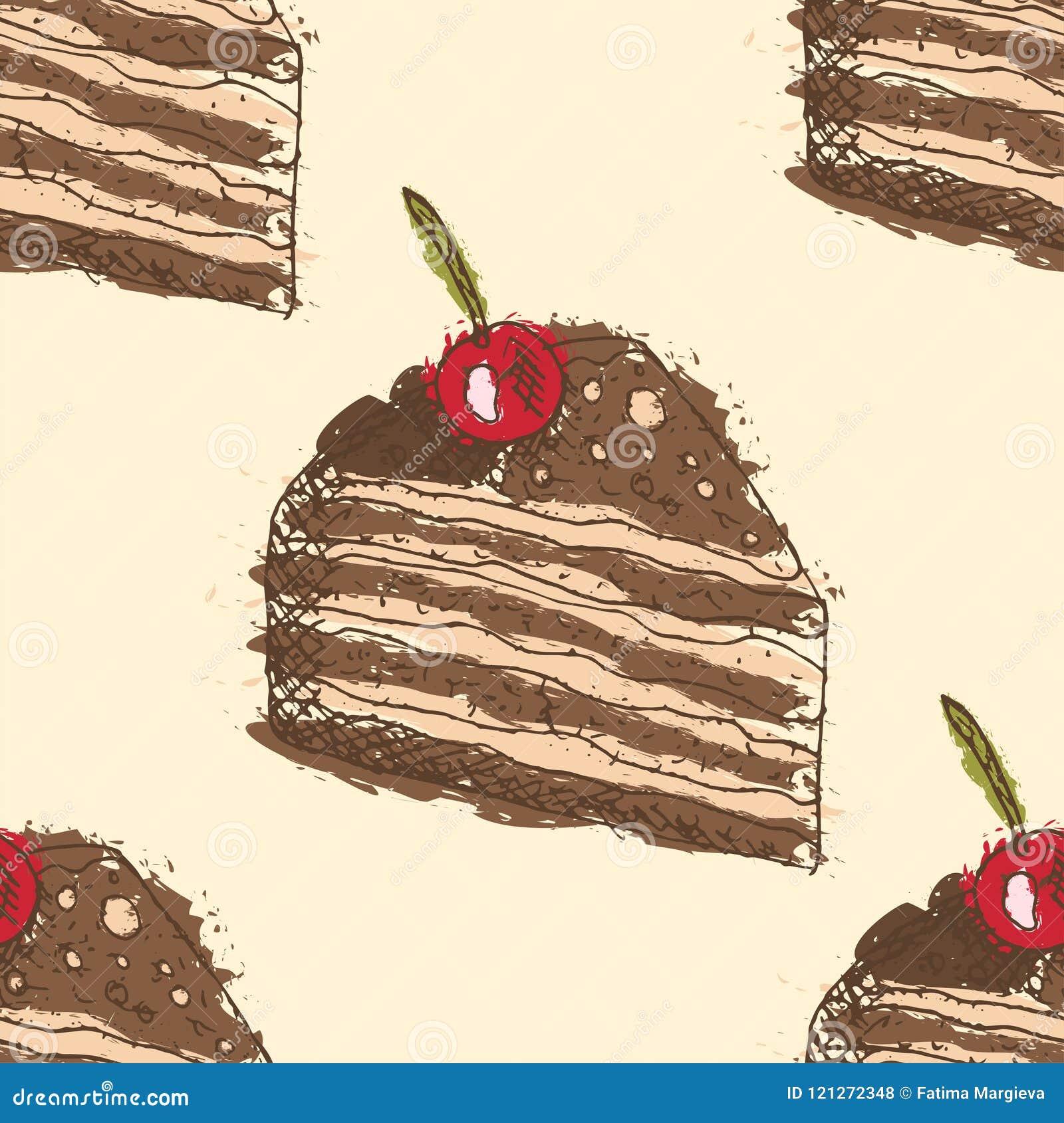 Modelo inconsútil con los esquemas dibujados mano de la torta de chocolate con la cereza con el terraplén abstracto en fondo amar