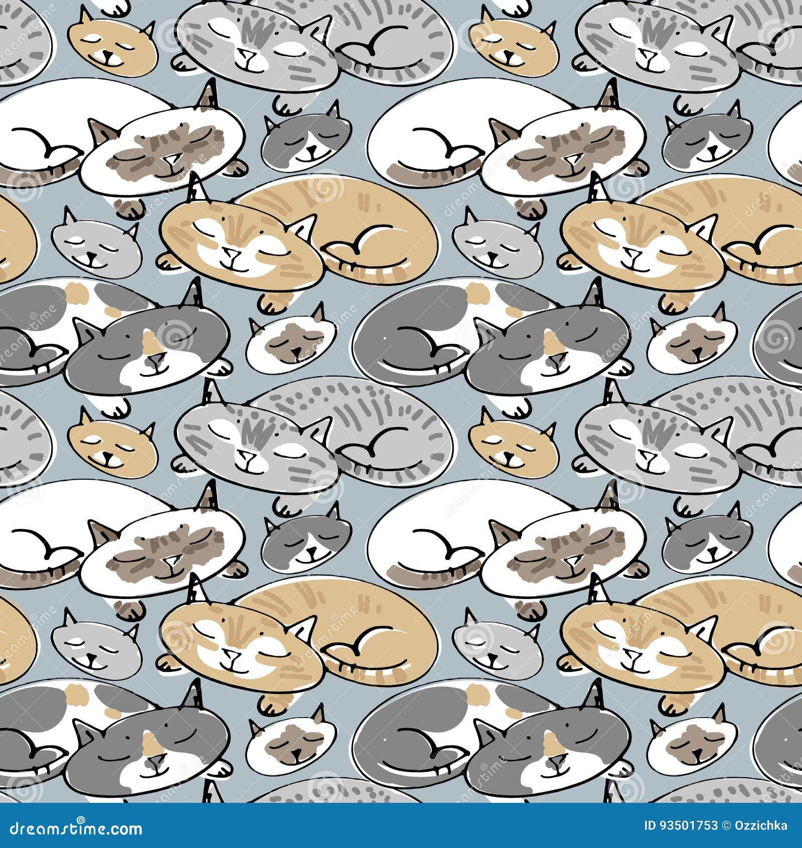 Modelo inconsútil con los gatos el dormir Ejemplo incompleto del vector Gato dibujado mano del sueño en modelo inconsútil stylish