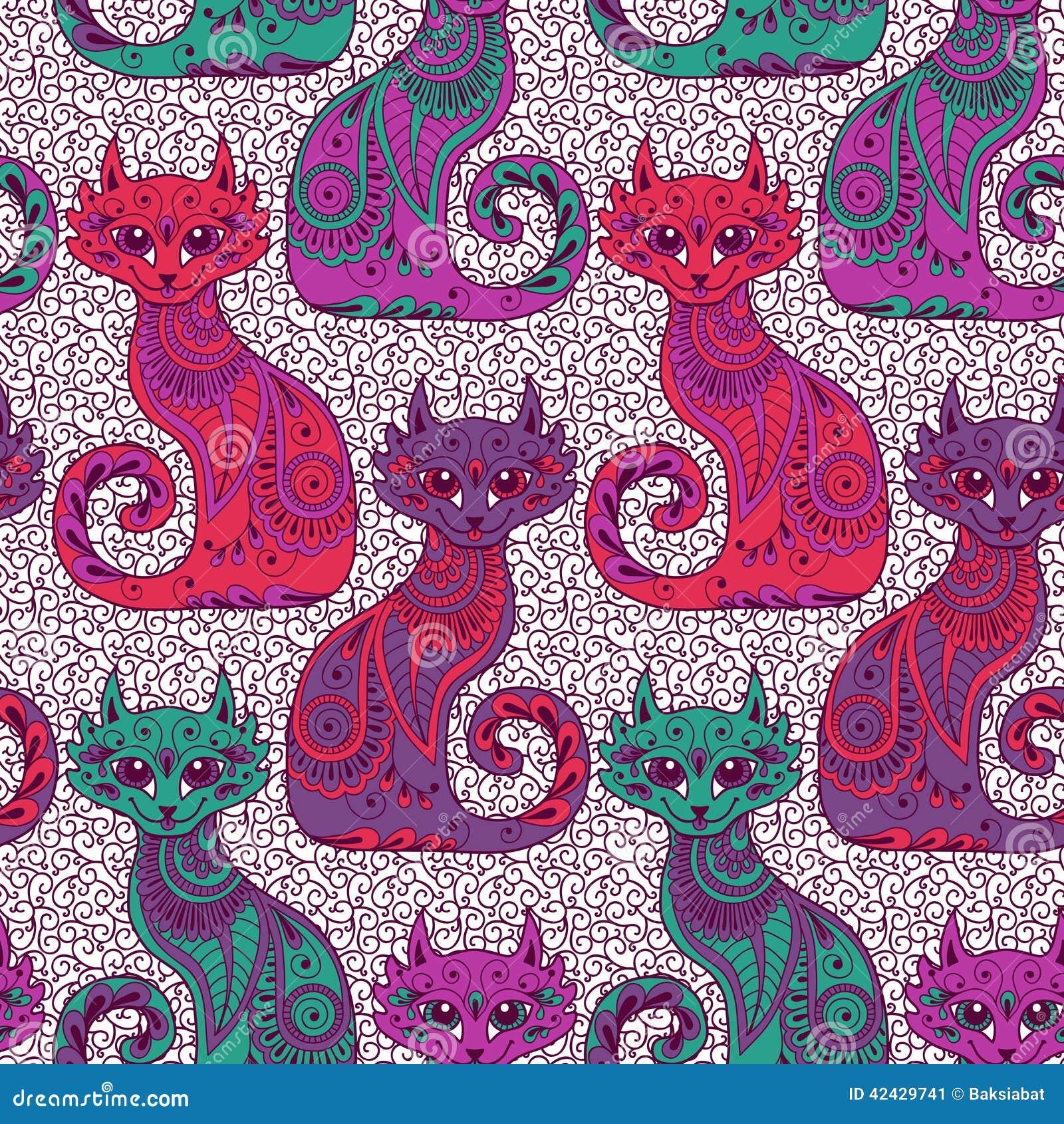 Modelo inconsútil con los gatos hermosos