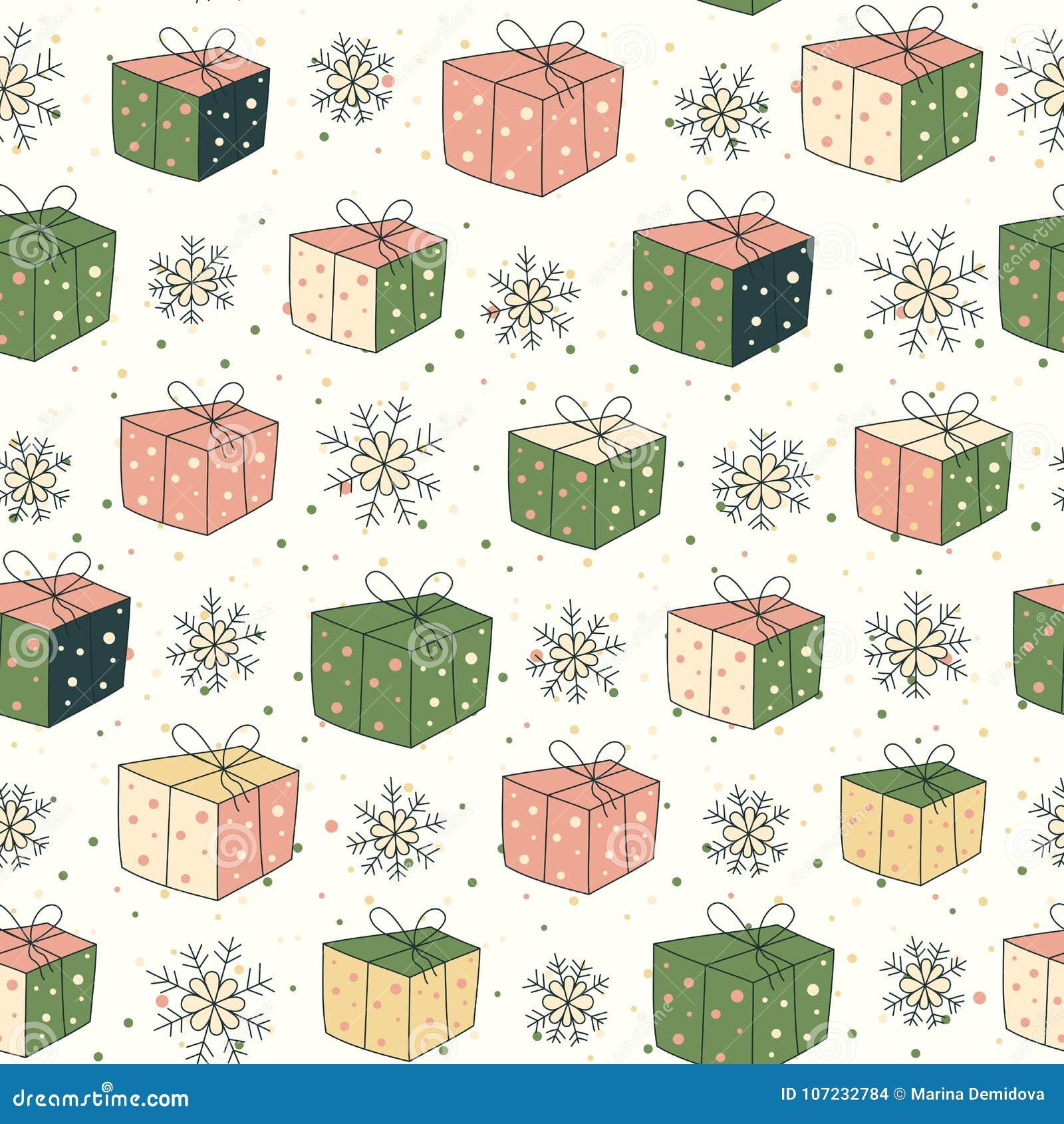Modelo inconsútil con los regalos y la nieve