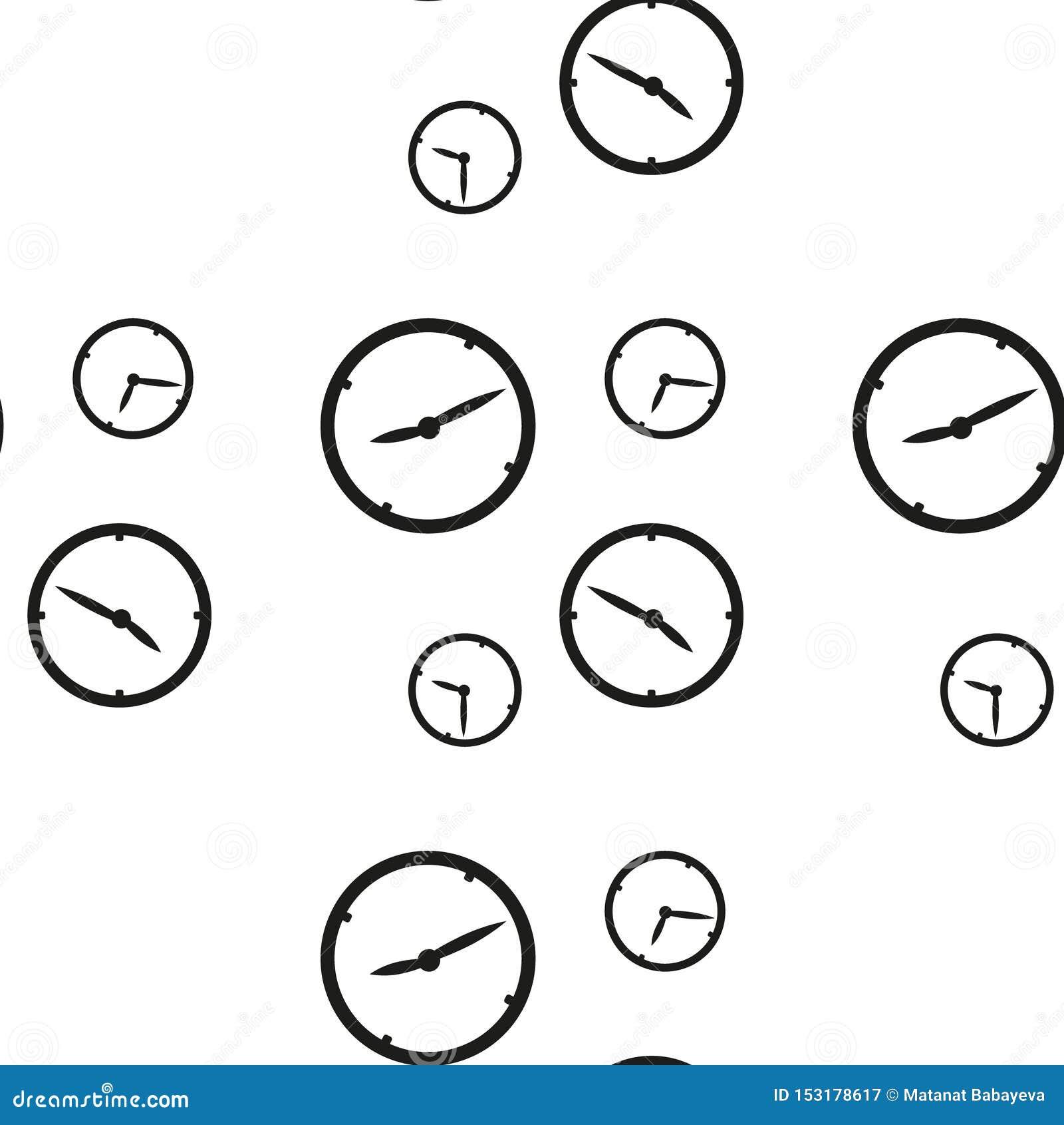 Modelo inconsútil con los relojes que muestran momento diferente aislado en el fondo blanco Ilustraci?n del vector