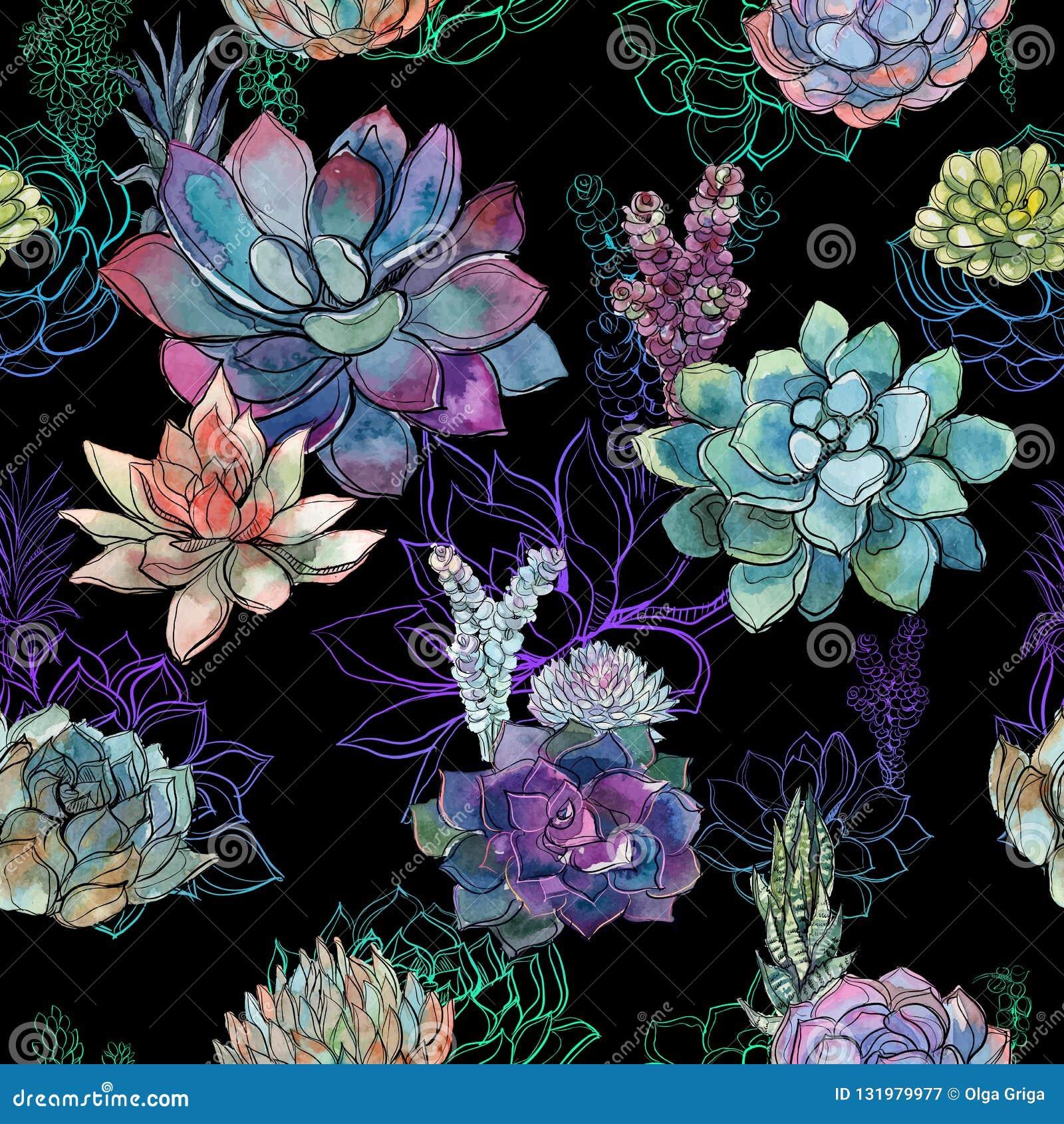 Modelo inconsútil con los succulents en fondo negro gráficos watercolor