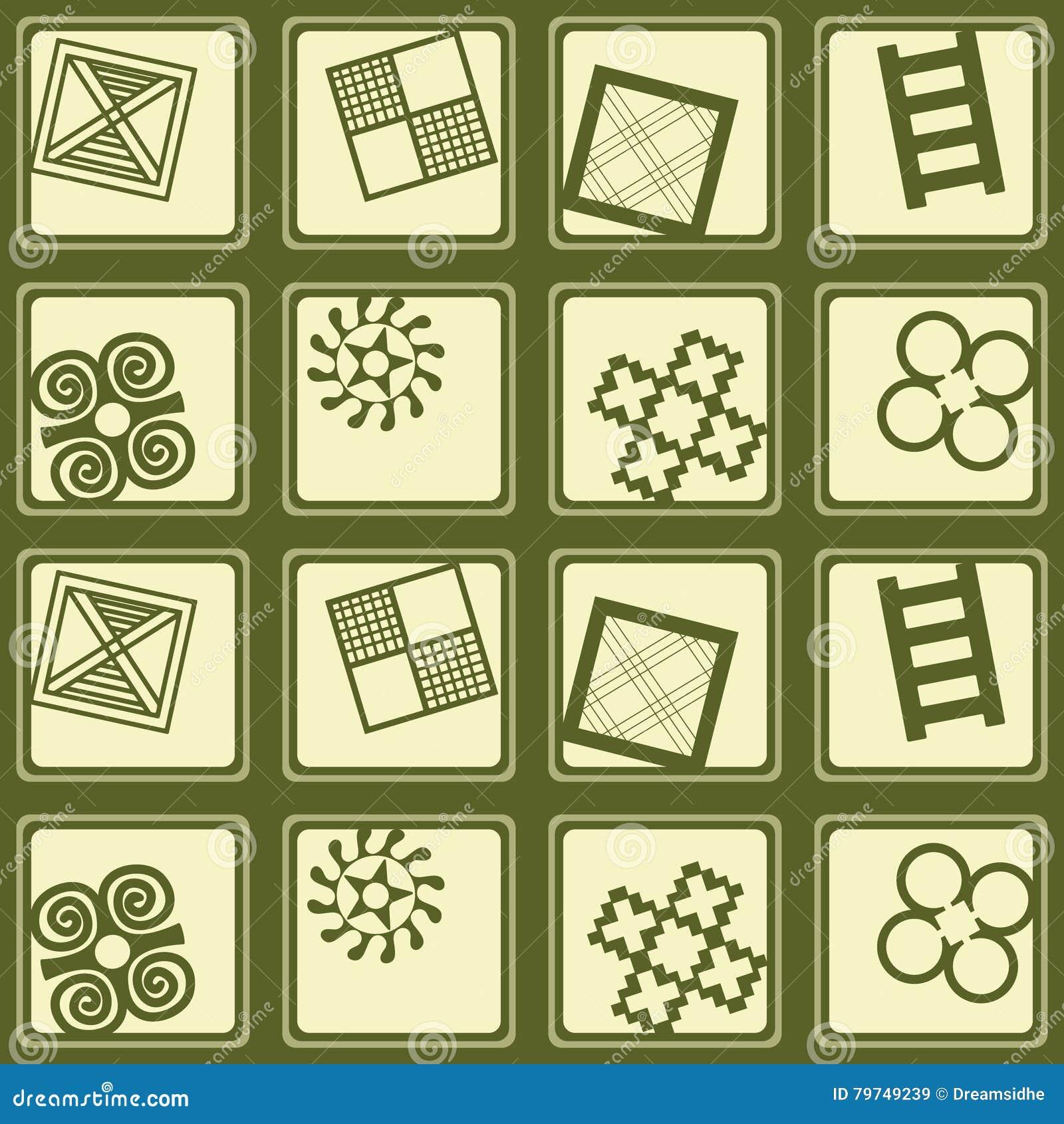 Modelo inconsútil con símbolos del adinkra