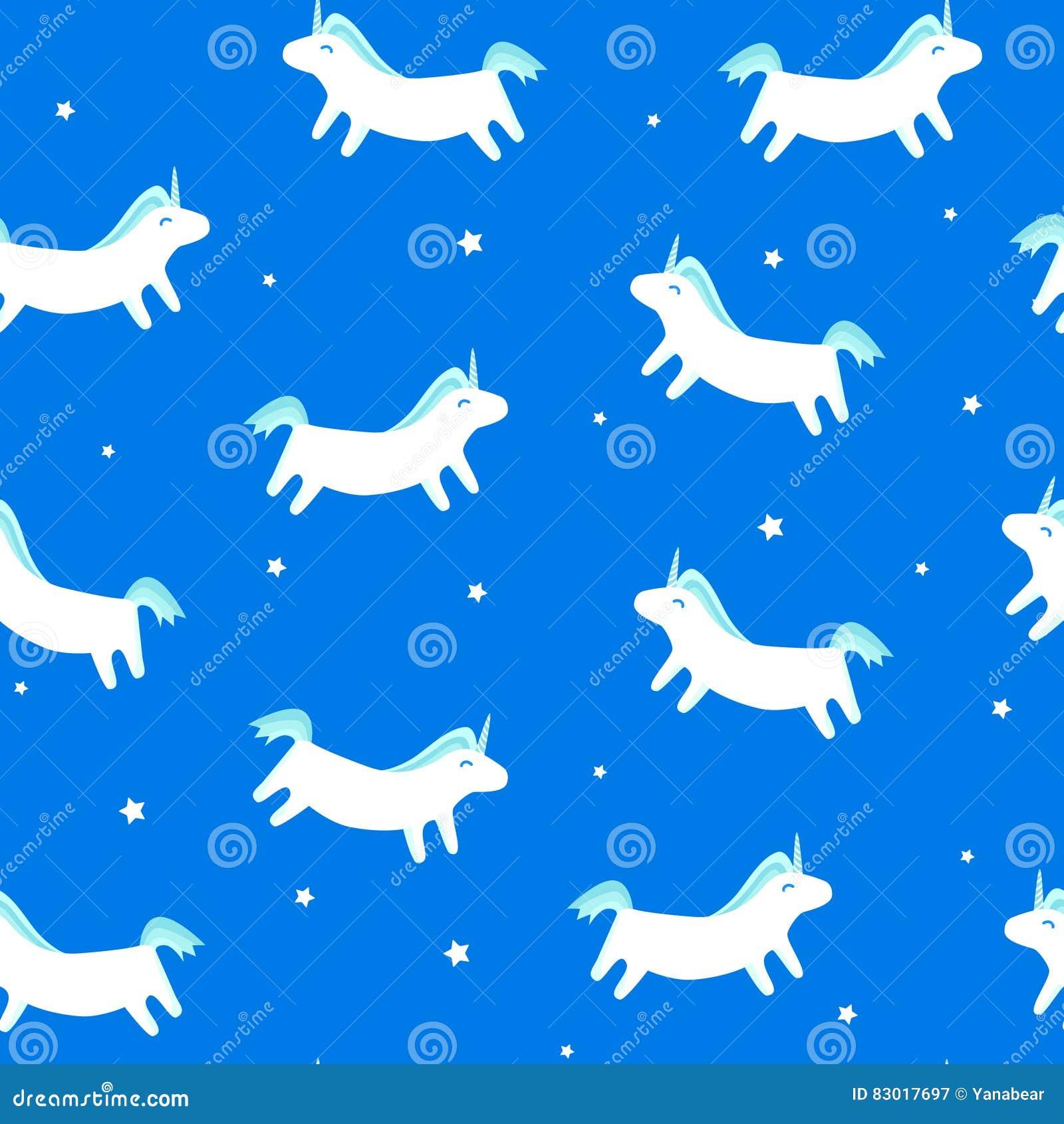 Modelo inconsútil con unicornio de la diversión y estrellas en fondo azul Ornamento de la Feliz Navidad para la materia textil y