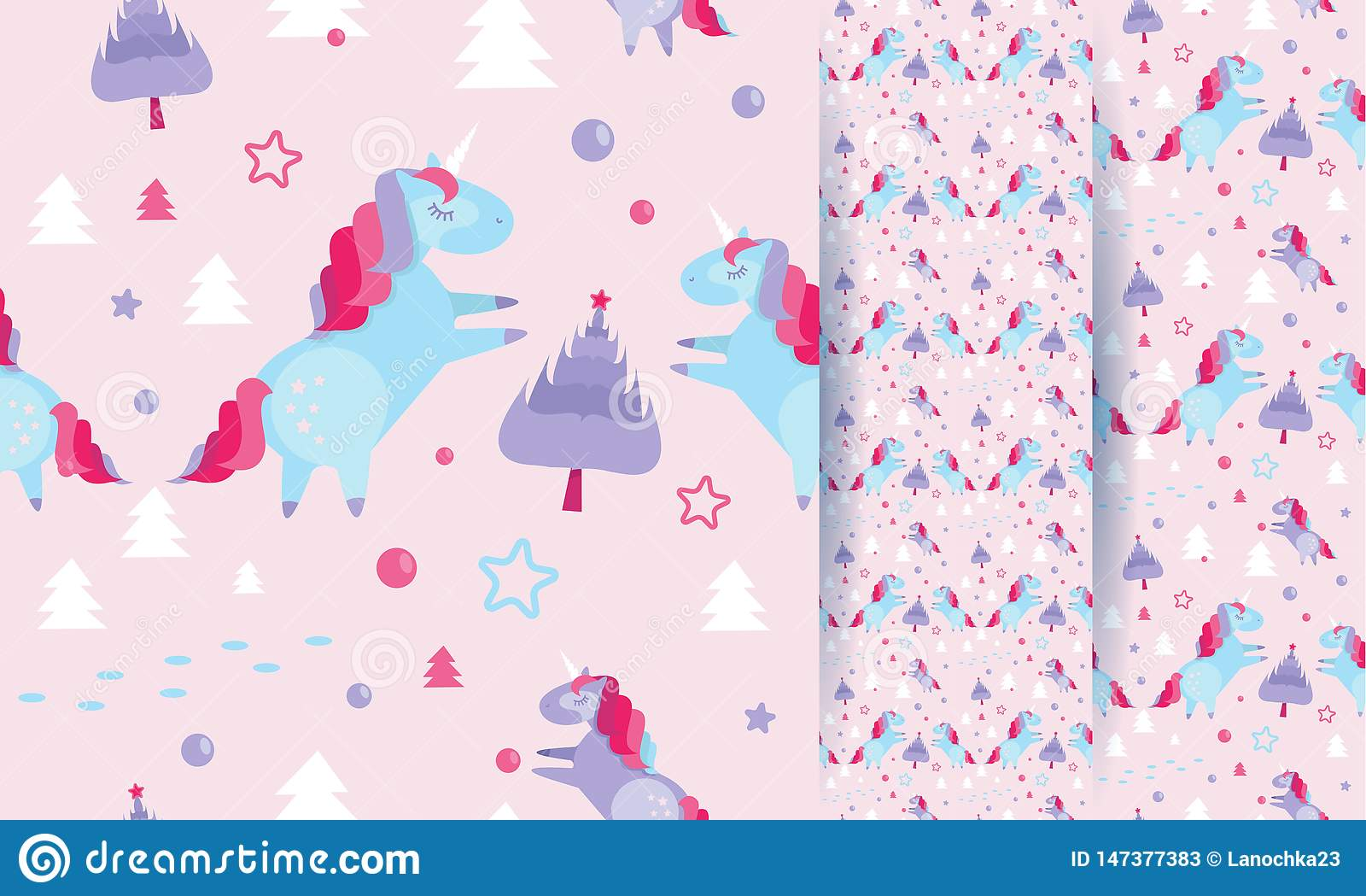 Modelo inconsútil con unicornios, abetos, bolas, estrellas de la Navidad en fondo rosado Plantilla del día de fiesta con unicorni
