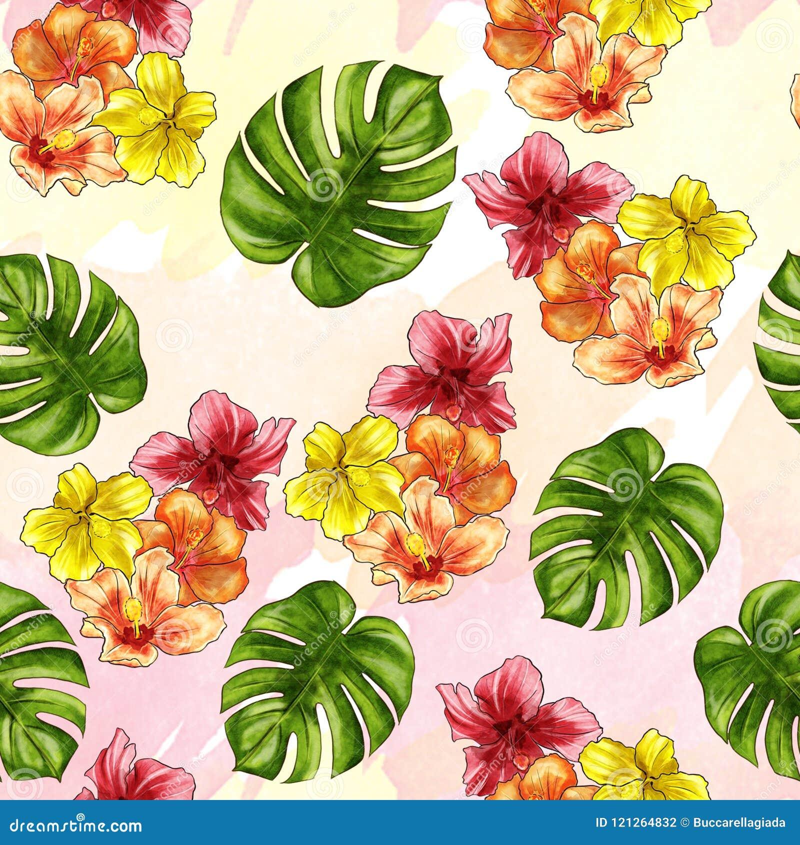 Modelo inconsútil - dé a acuarela exhausta las flores tropicales en fondo del ombree