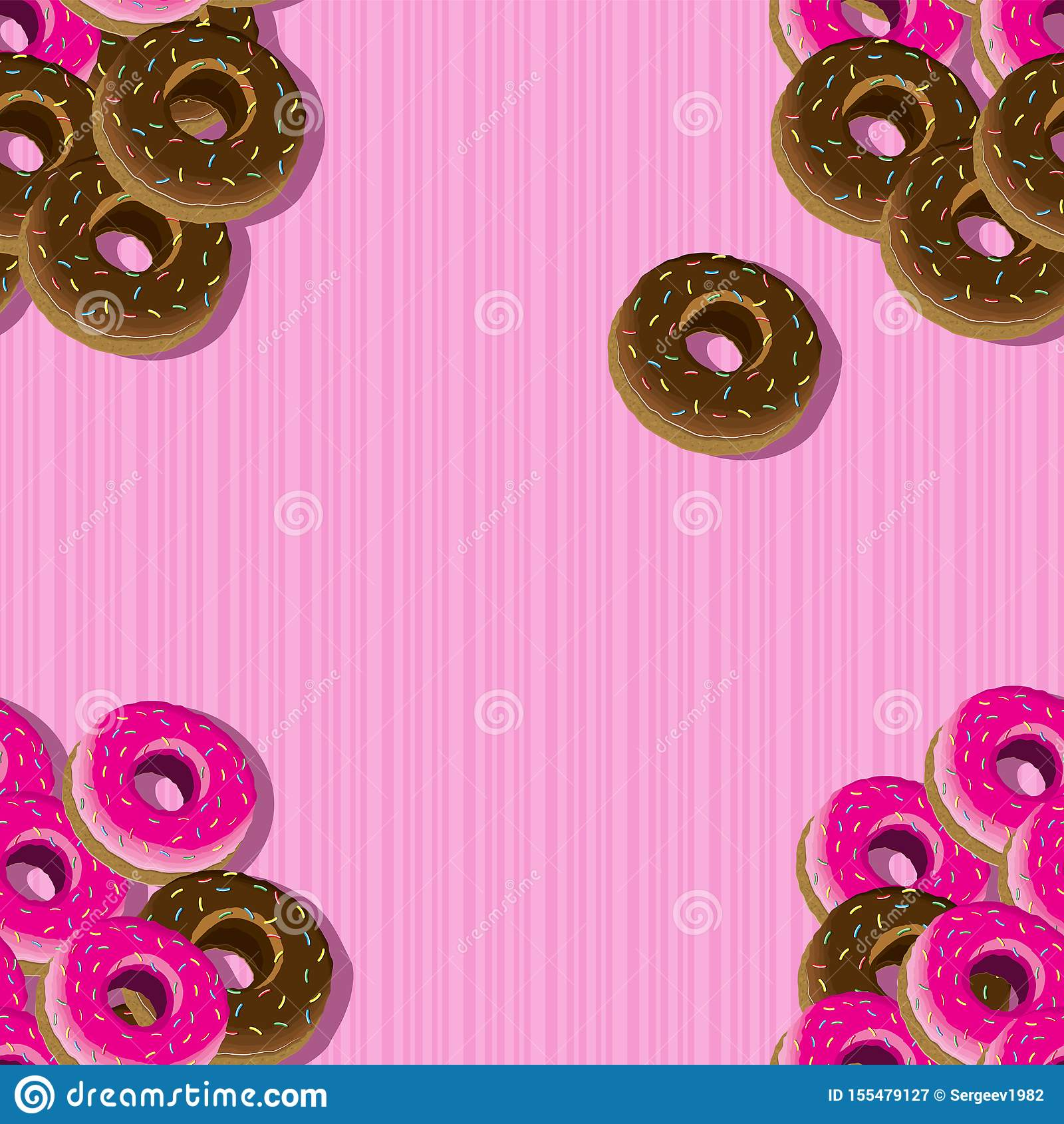 Modelo inconsútil de anillos de espuma esmaltados en un fondo rayado rosado Ilustraci?n del vector