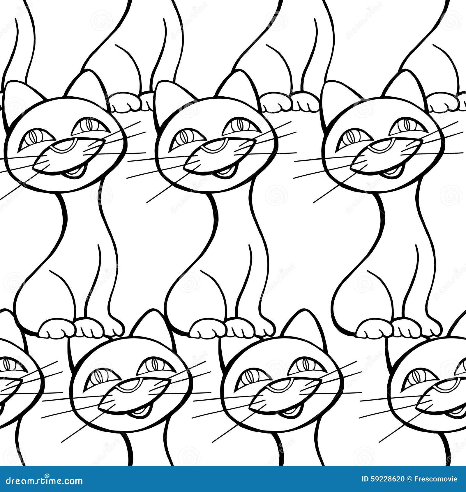 Download Modelo inconsútil de gatos ilustración del vector. Ilustración de extracto - 59228620