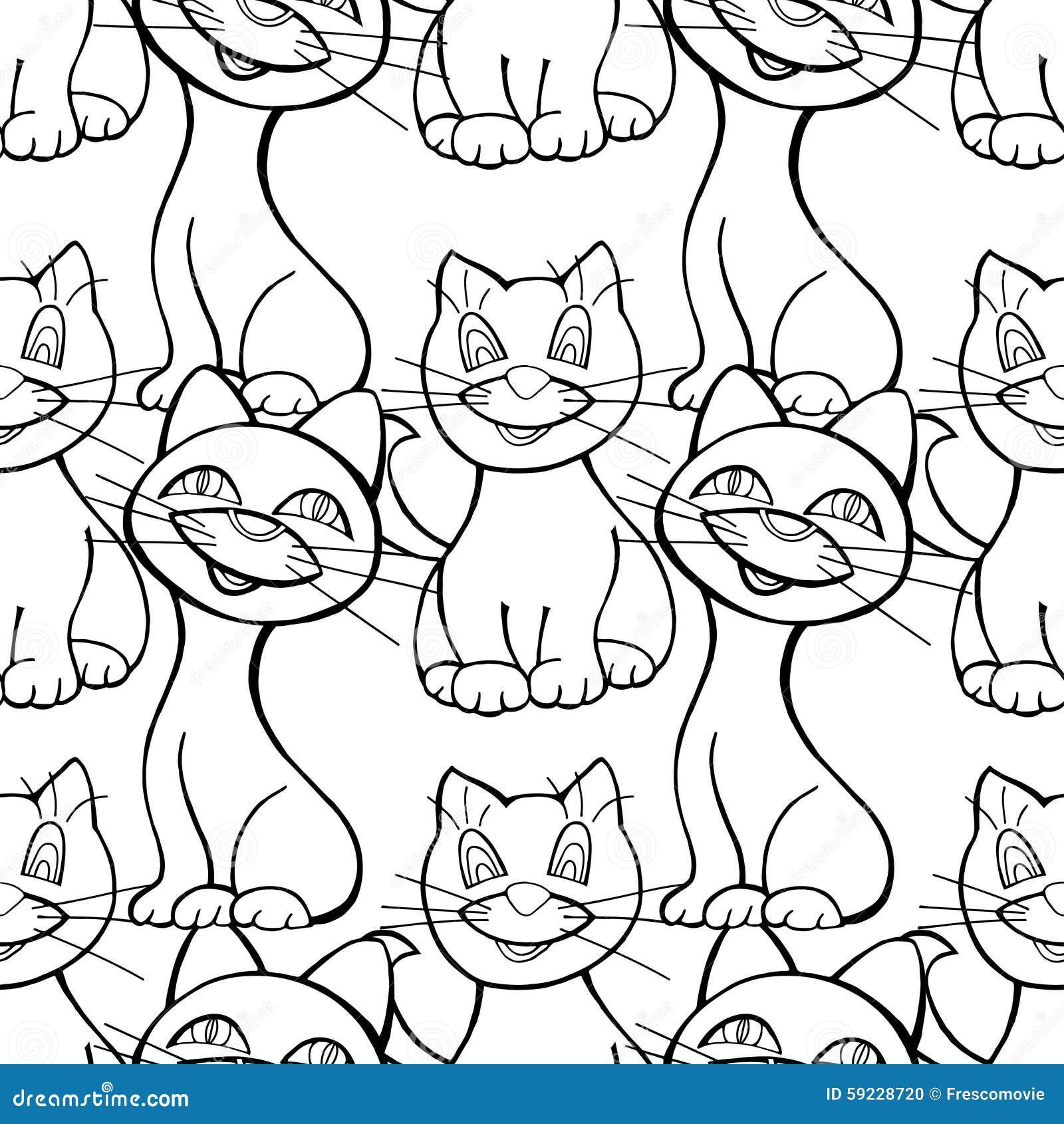 Download Modelo inconsútil de gatos ilustración del vector. Ilustración de divertido - 59228720