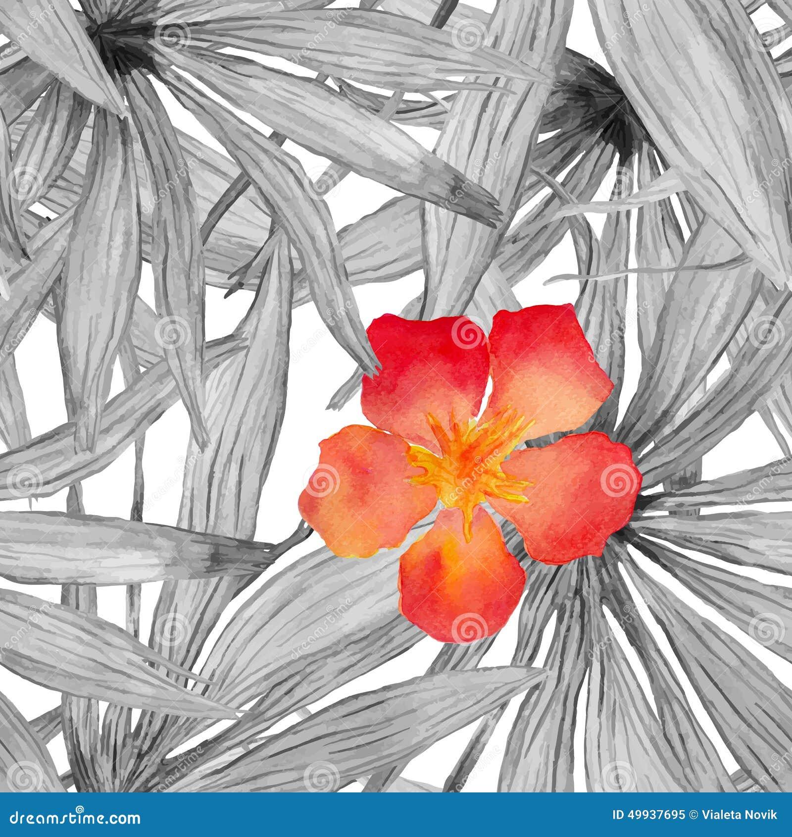 Modelo inconsútil de hoja de palma de la acuarela con la flor del hibisco