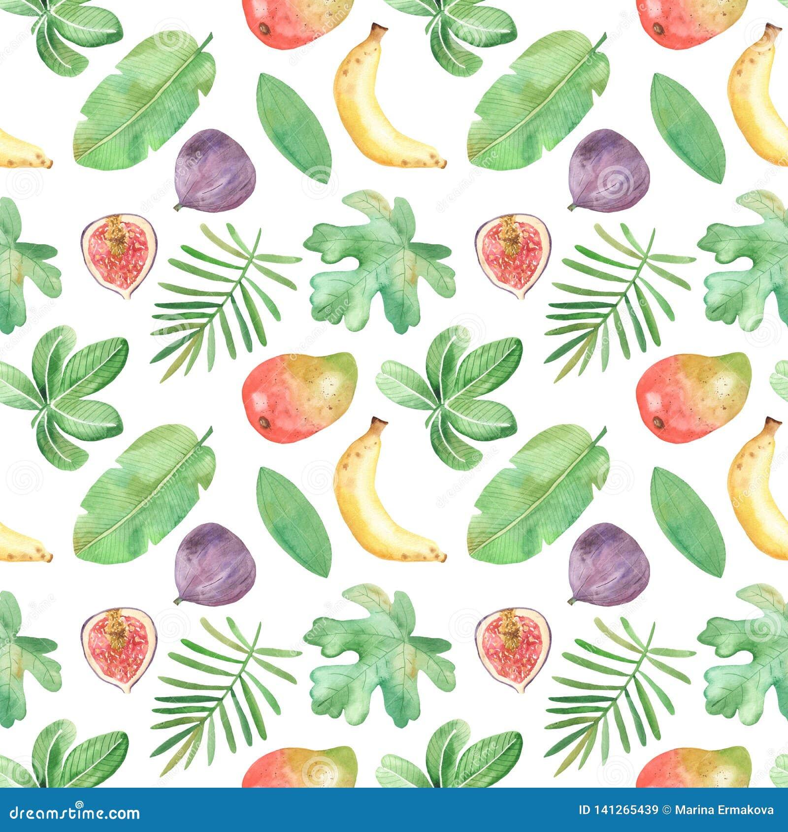 Modelo inconsútil de la acuarela con las frutas, plantas, hojas, flores de África