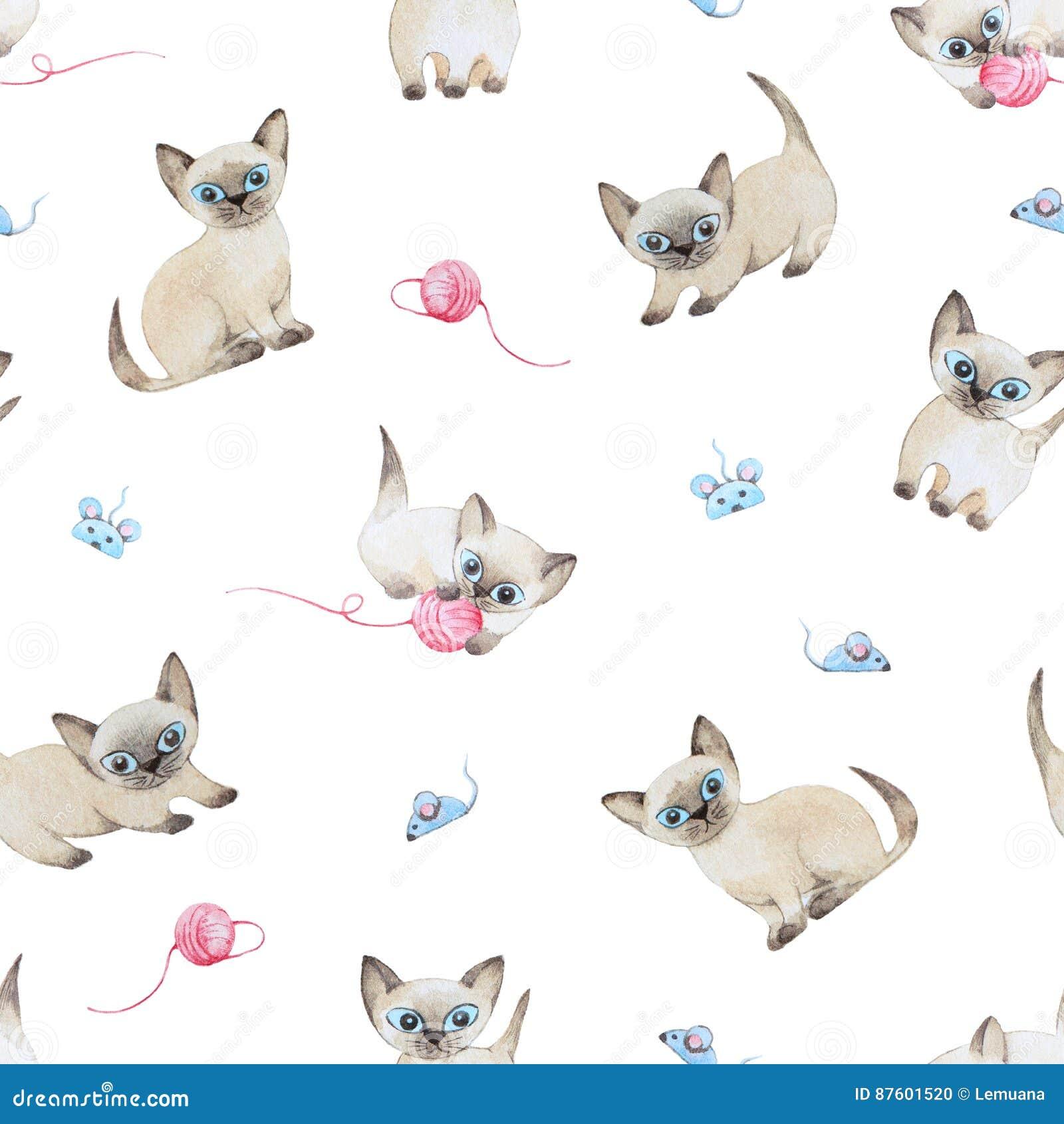Modelo inconsútil de la acuarela Gatos que juegan con el ratón del juguete trama