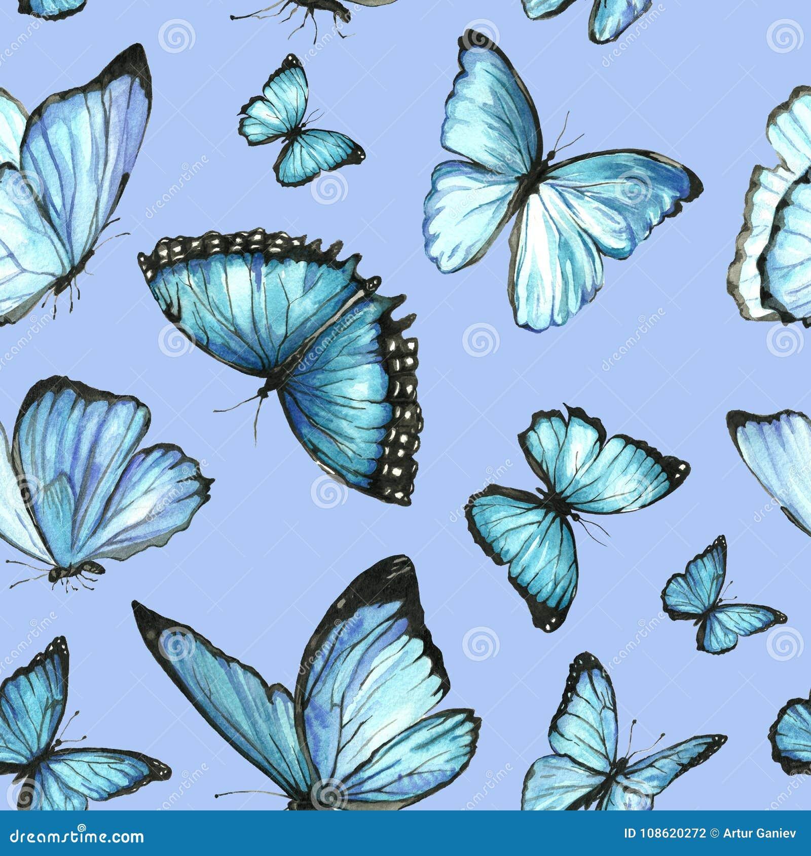 Modelo Inconsútil De La Acuarela De Mariposas Pintadas Stock De