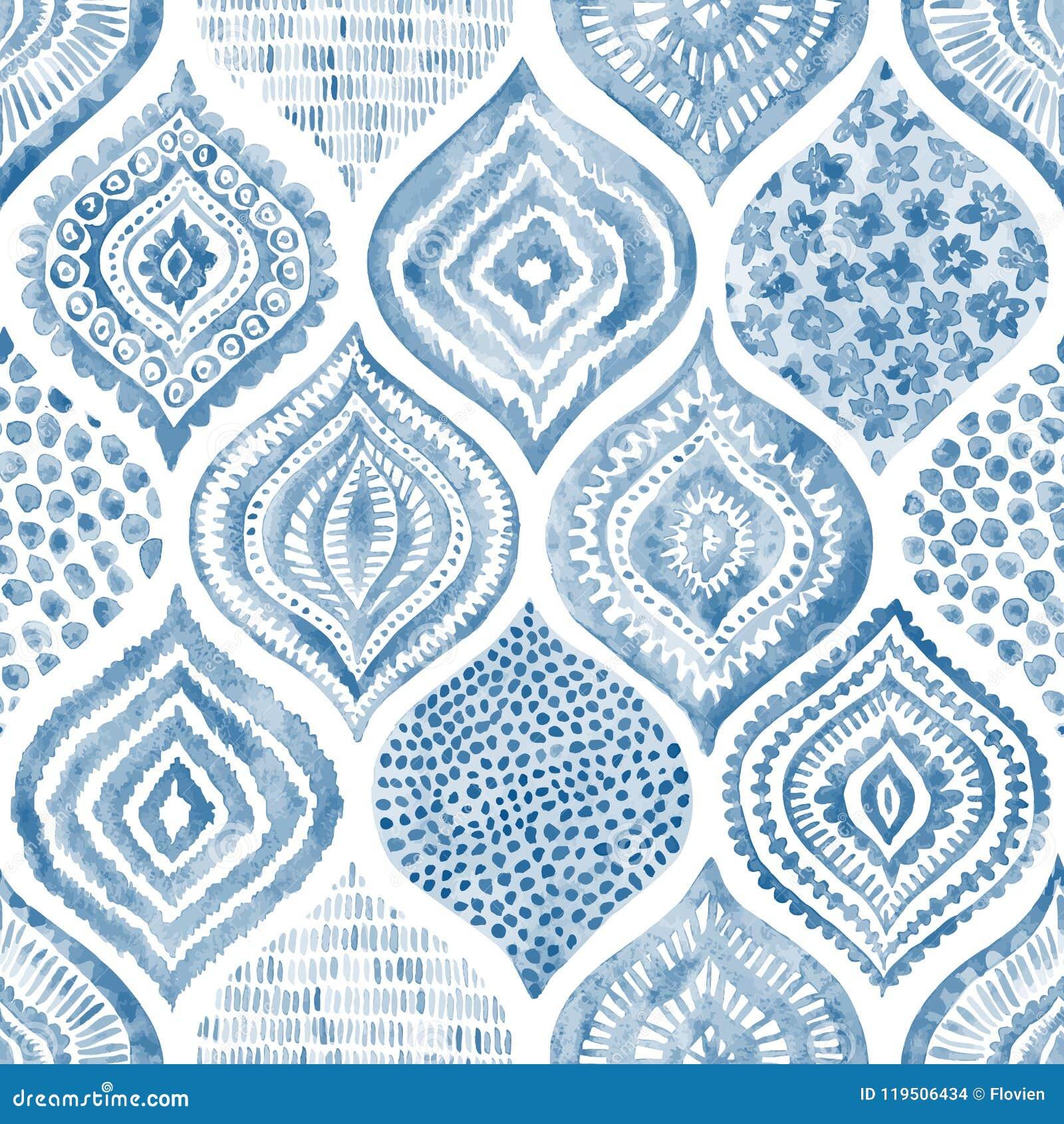 Modelo inconsútil de la acuarela Ornamento azul y blanco del vintage te