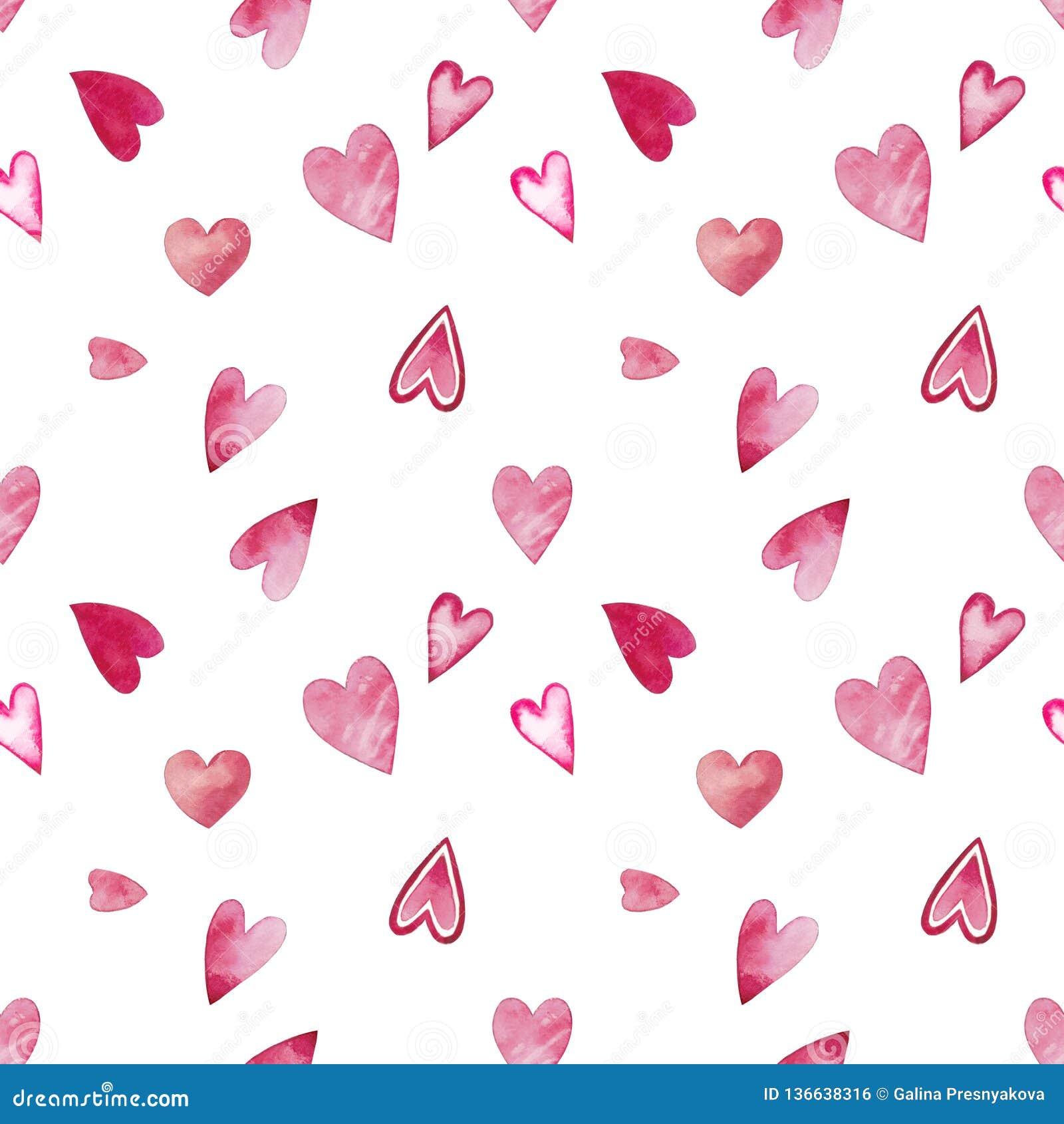 Modelo inconsútil de la acuarela para el día de tarjeta del día de San Valentín con los corazones