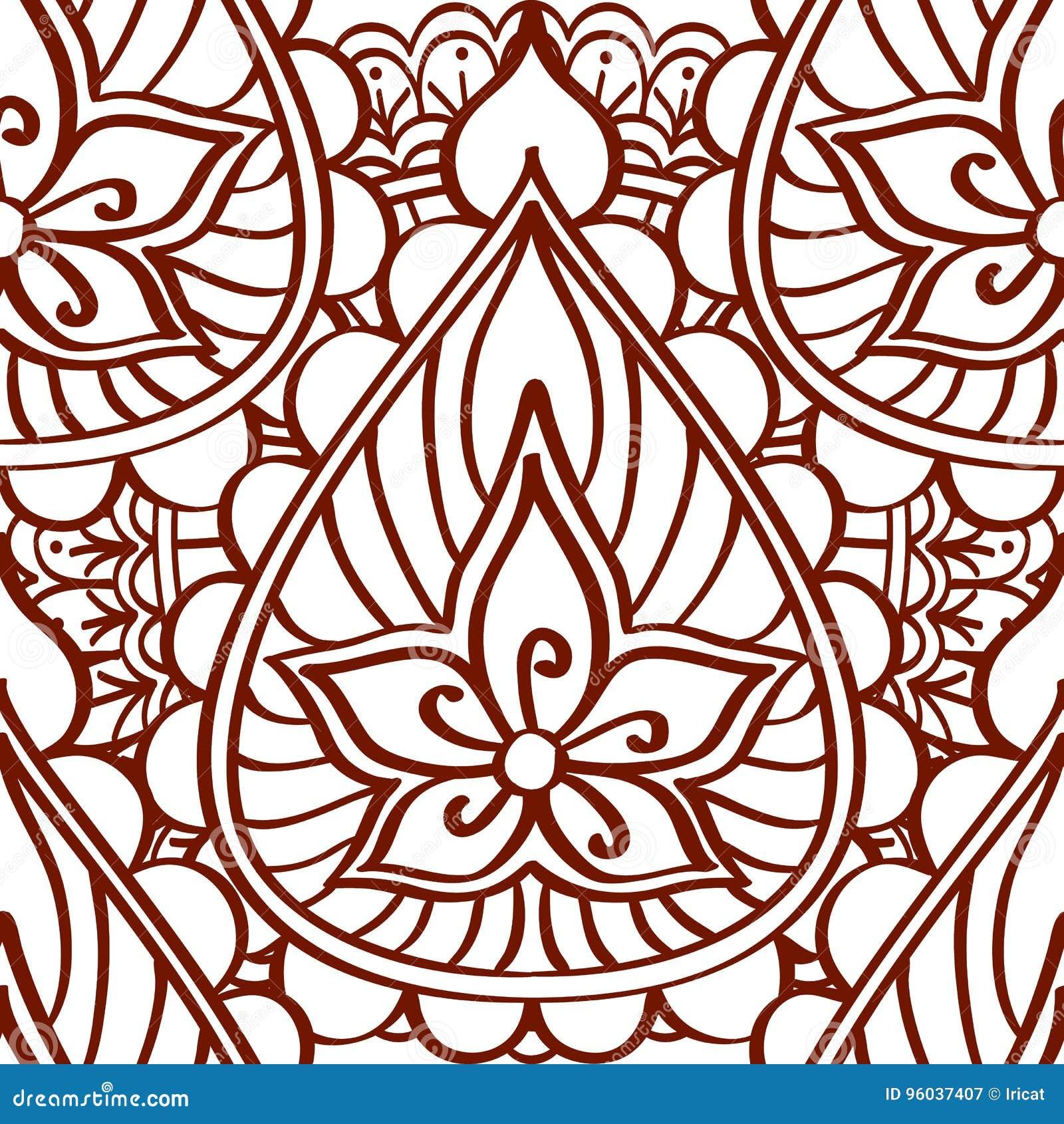 Modelo inconsútil de la alheña de líneas marrones en un fondo blanco Tatuaje indio étnico del ornamento del estilo