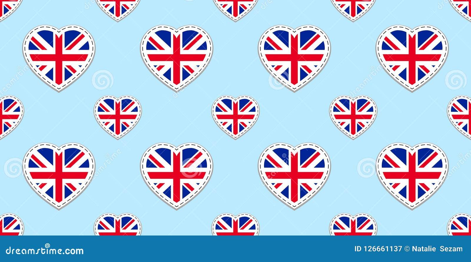 Modelo inconsútil de la bandera de Gran Bretaña Vector los stikers de las banderas de Reino Unido Símbolos de los corazones del a