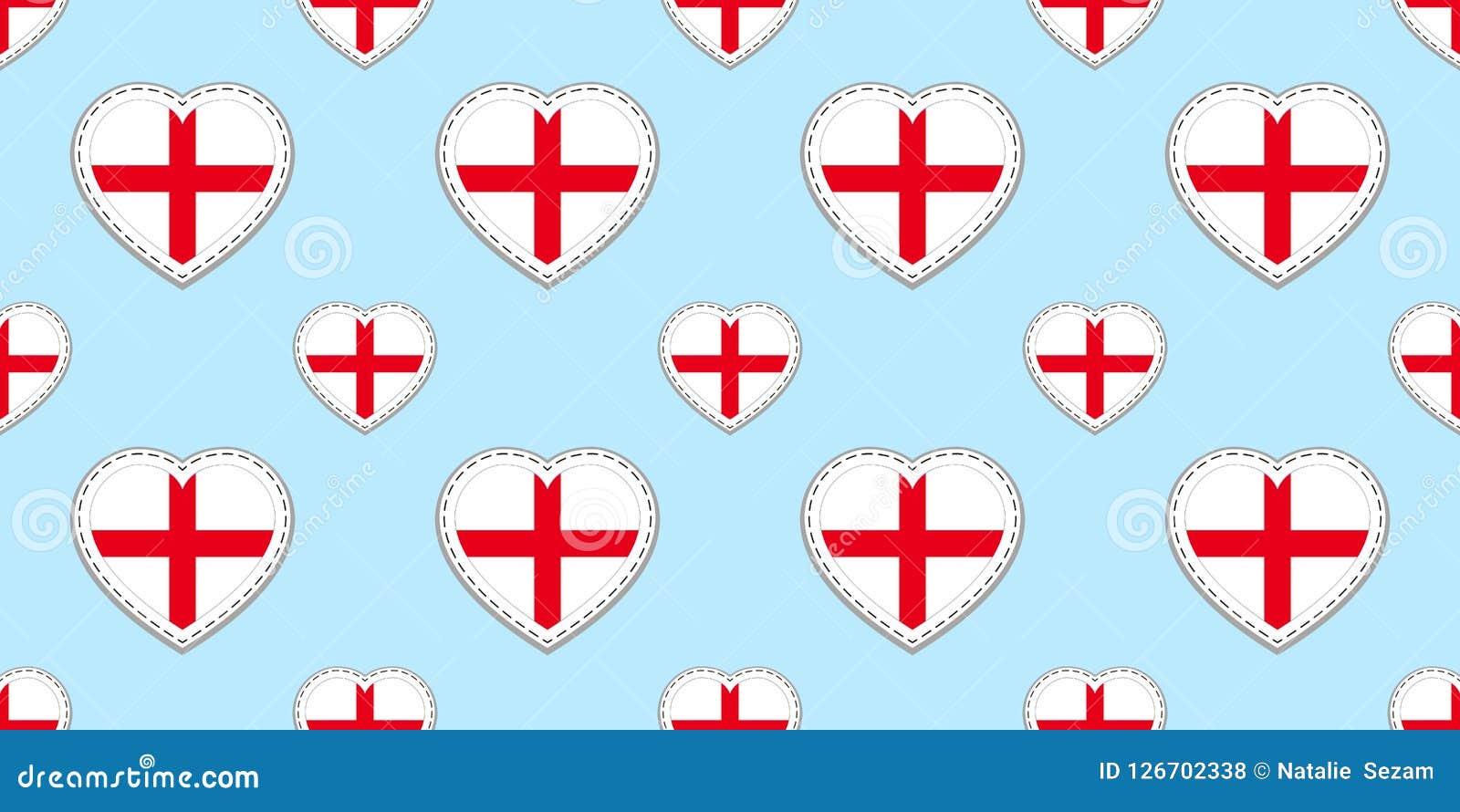 Modelo inconsútil de la bandera de Inglaterra El inglés del vector señala stikers por medio de una bandera Símbolos de los corazo