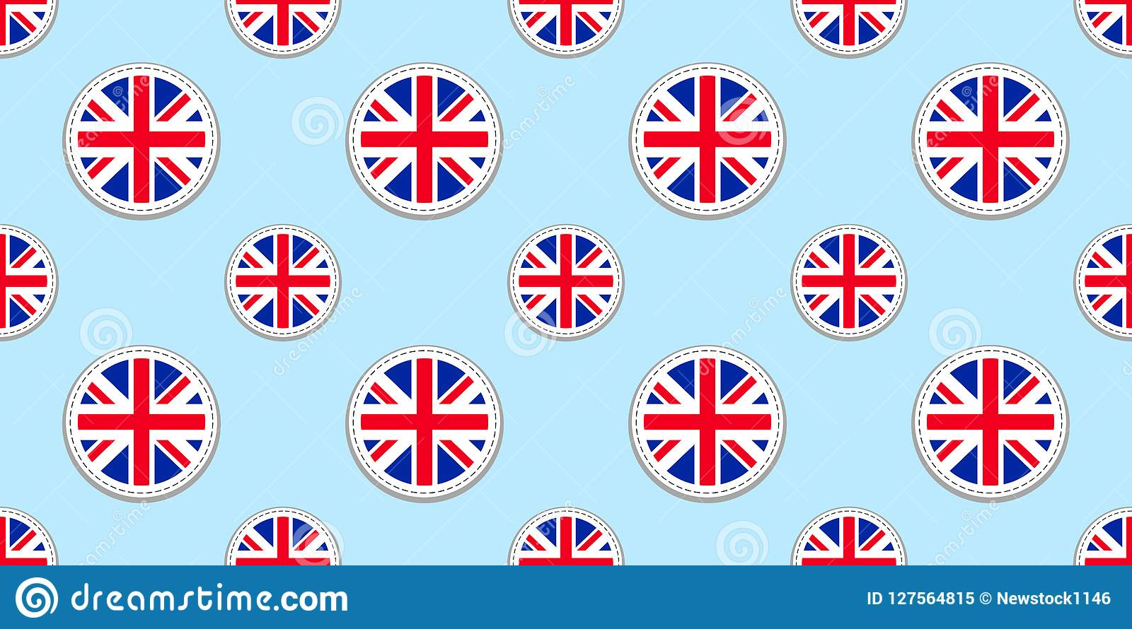 Modelo inconsútil de la bandera redonda de Gran Bretaña Fondo británico Icono del círculo del vector Los símbolos geométricos de
