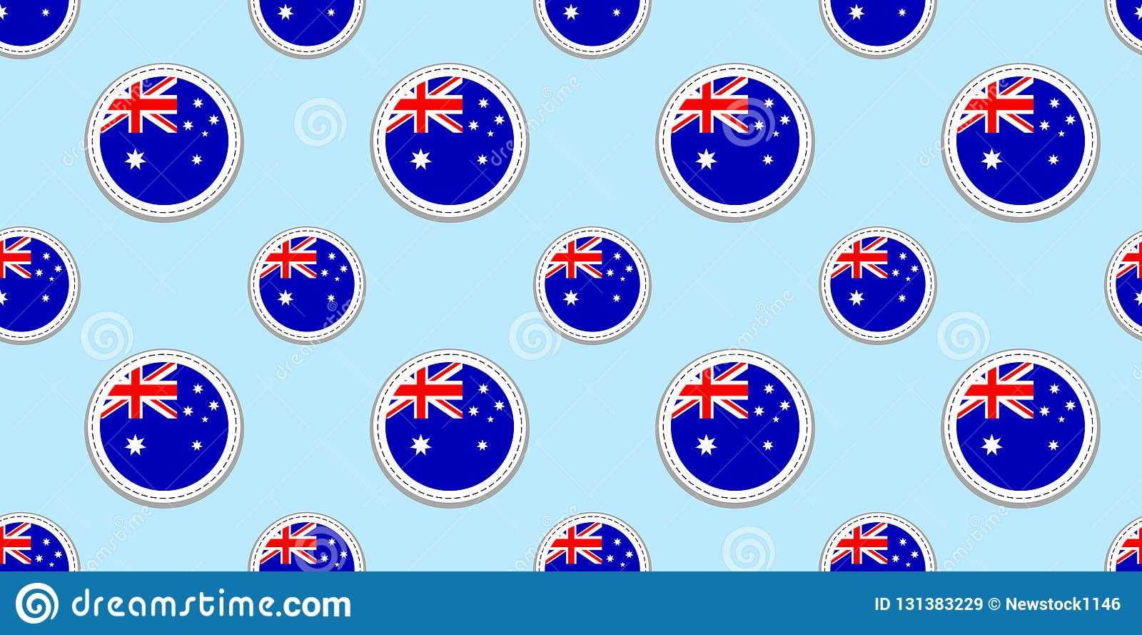 Modelo inconsútil de la bandera de la ronda de Australia Fondo australiano Iconos del círculo del vector Símbolos geométricos Tex