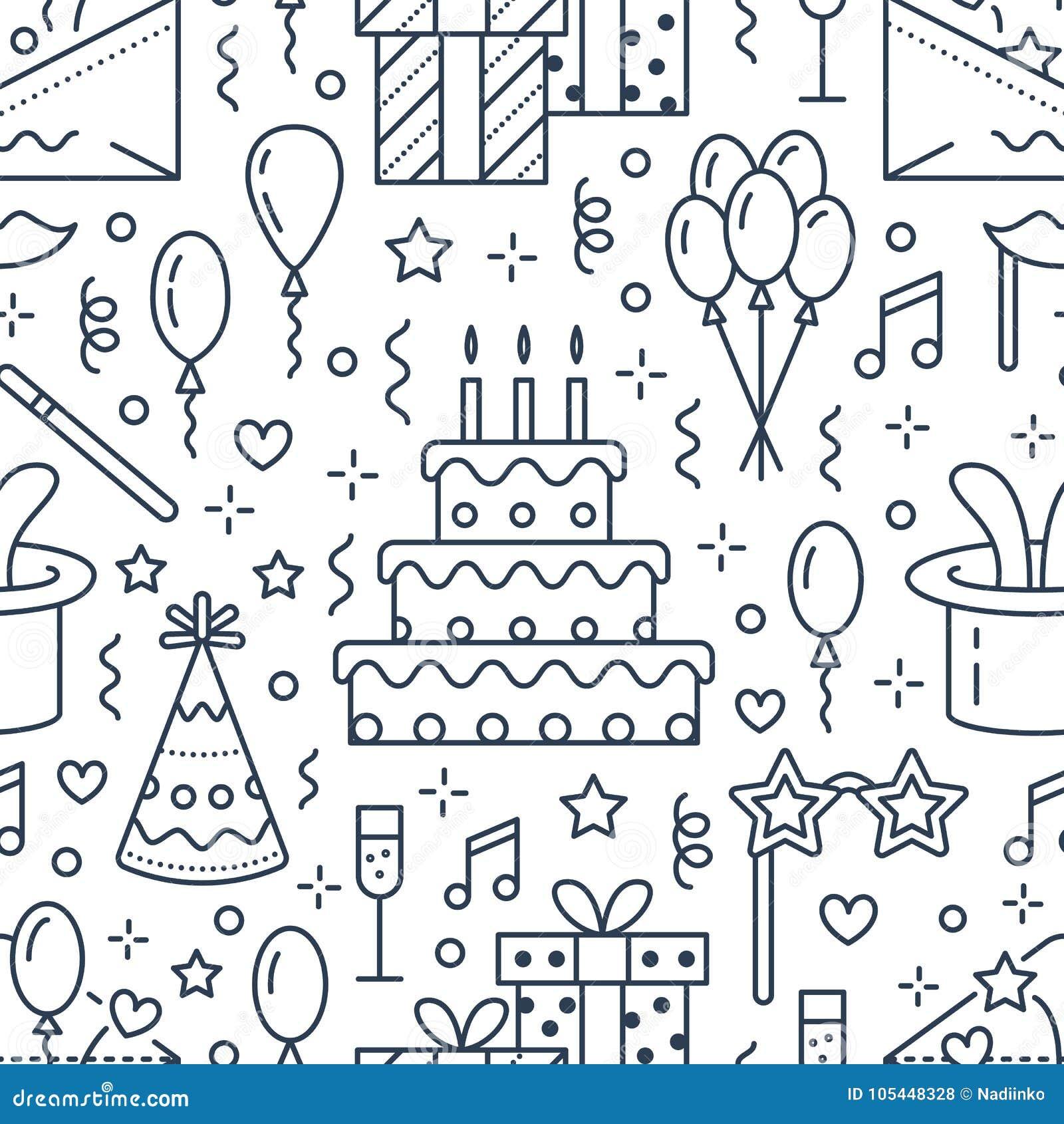 Modelo inconsútil de la fiesta de cumpleaños, línea ejemplo plana Vector los iconos de la agencia del evento, casandose la organi
