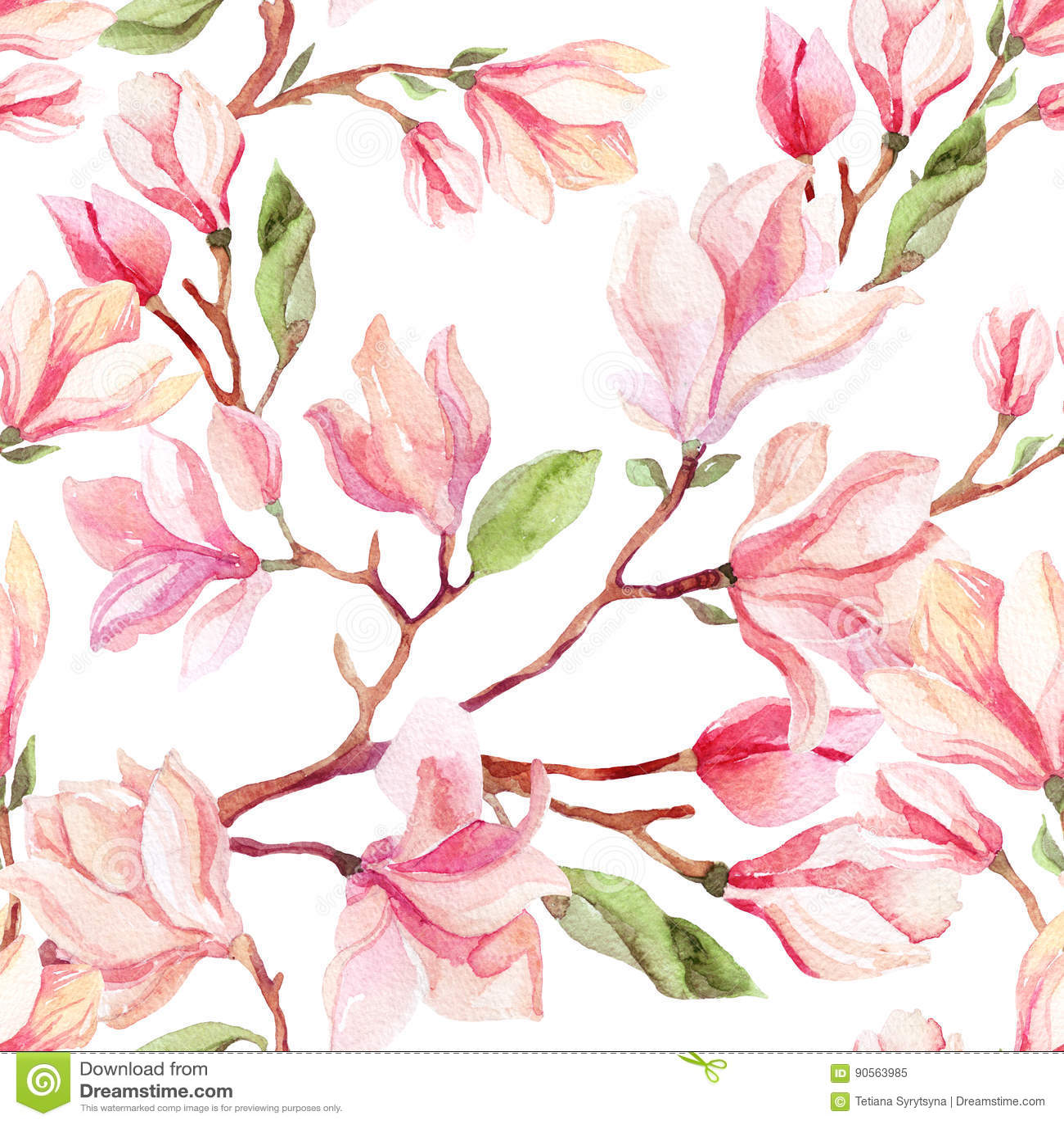 Modelo inconsútil de la flor de la magnolia de la acuarela