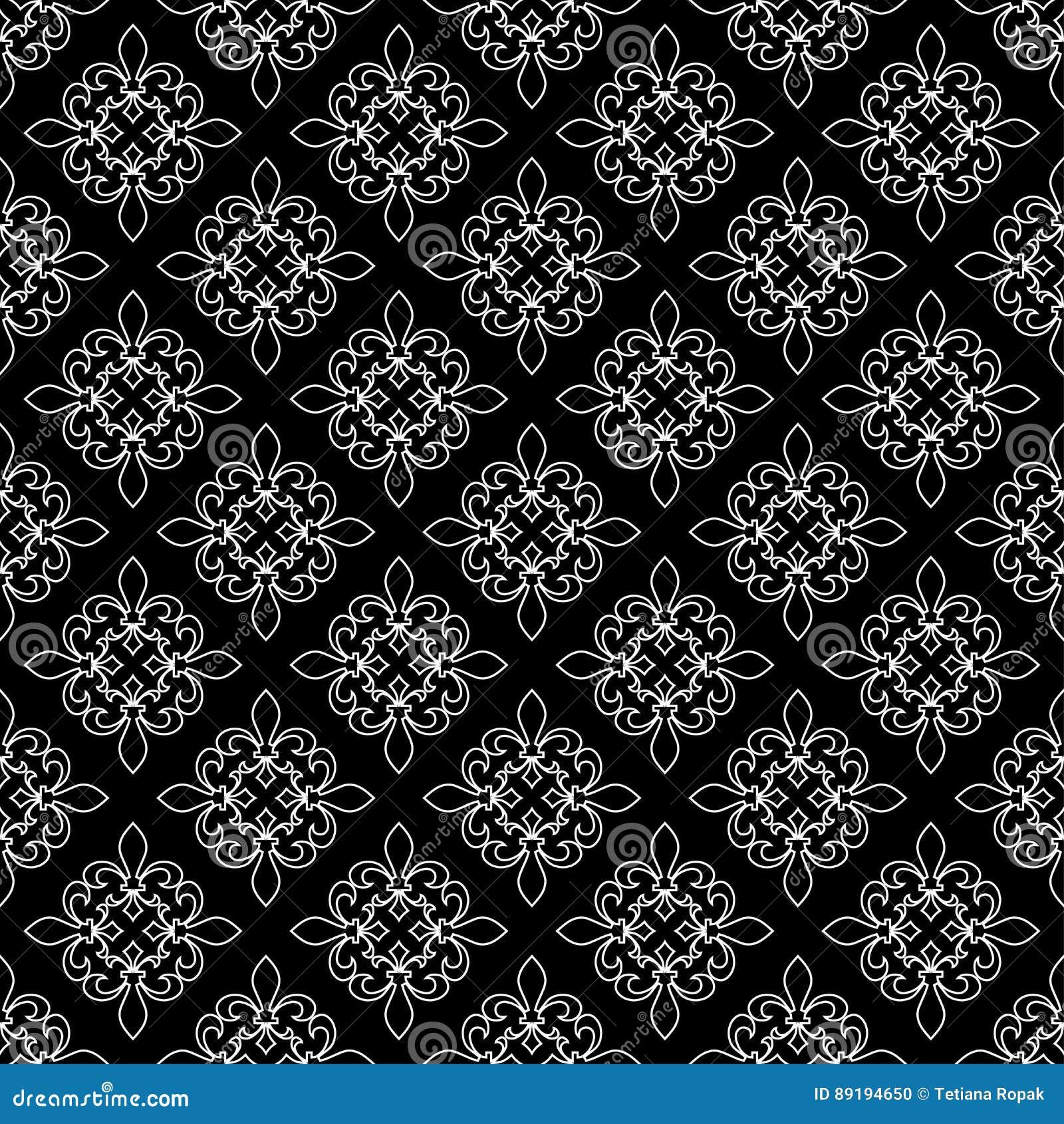 5ae721d113632 Modelo inconsútil de la flor de lis Ilustración del vector Plantilla blanca  negra Textura floral Decoración elegante