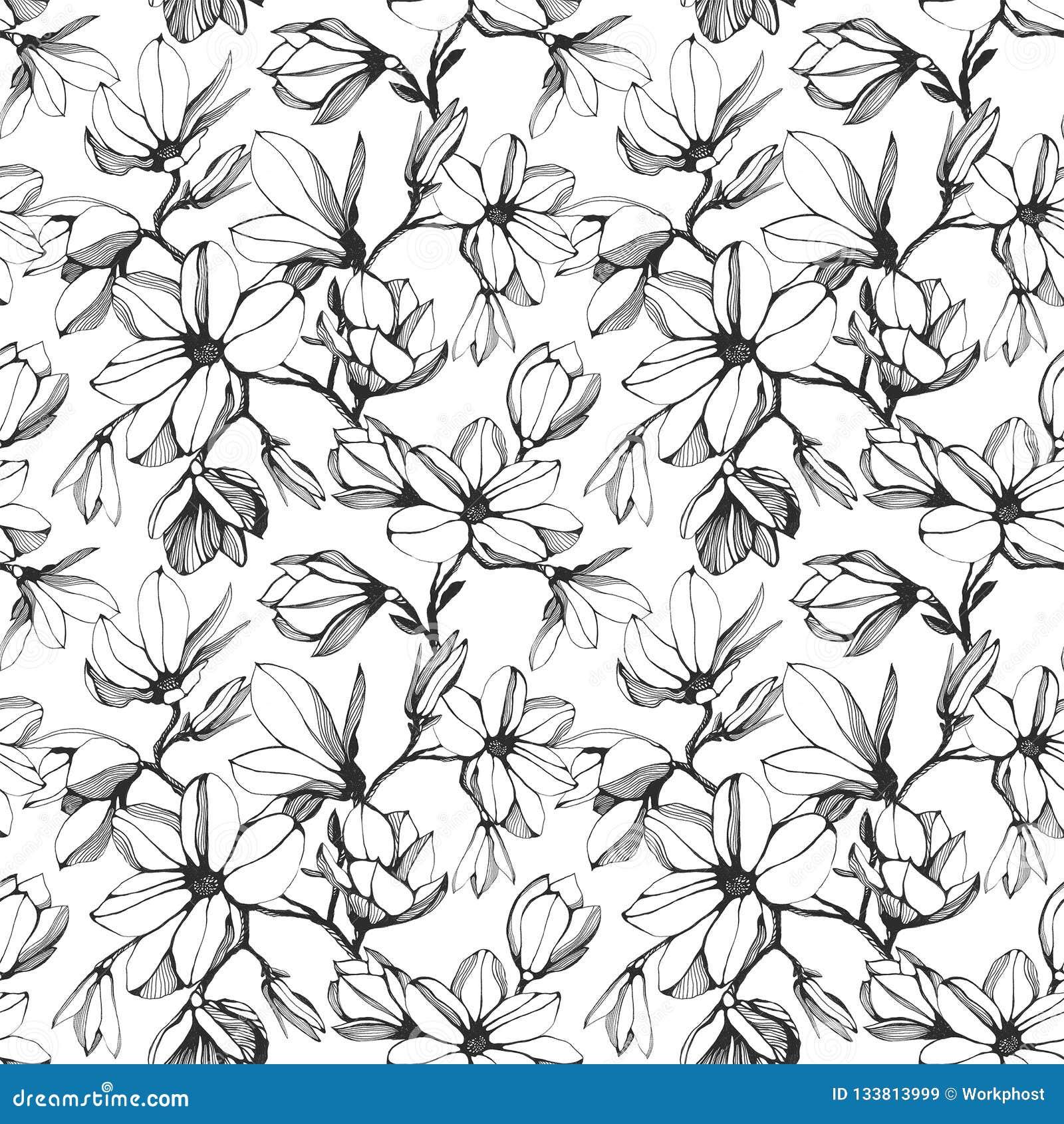 Modelo inconsútil de la flor de la magnolia en un fondo blanco Mano