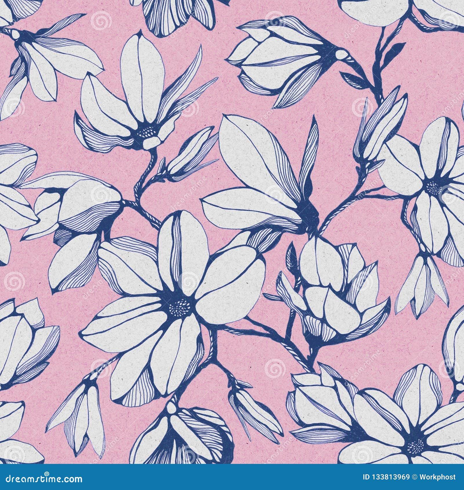 Modelo inconsútil de la flor de la magnolia en un fondo de papel rosado