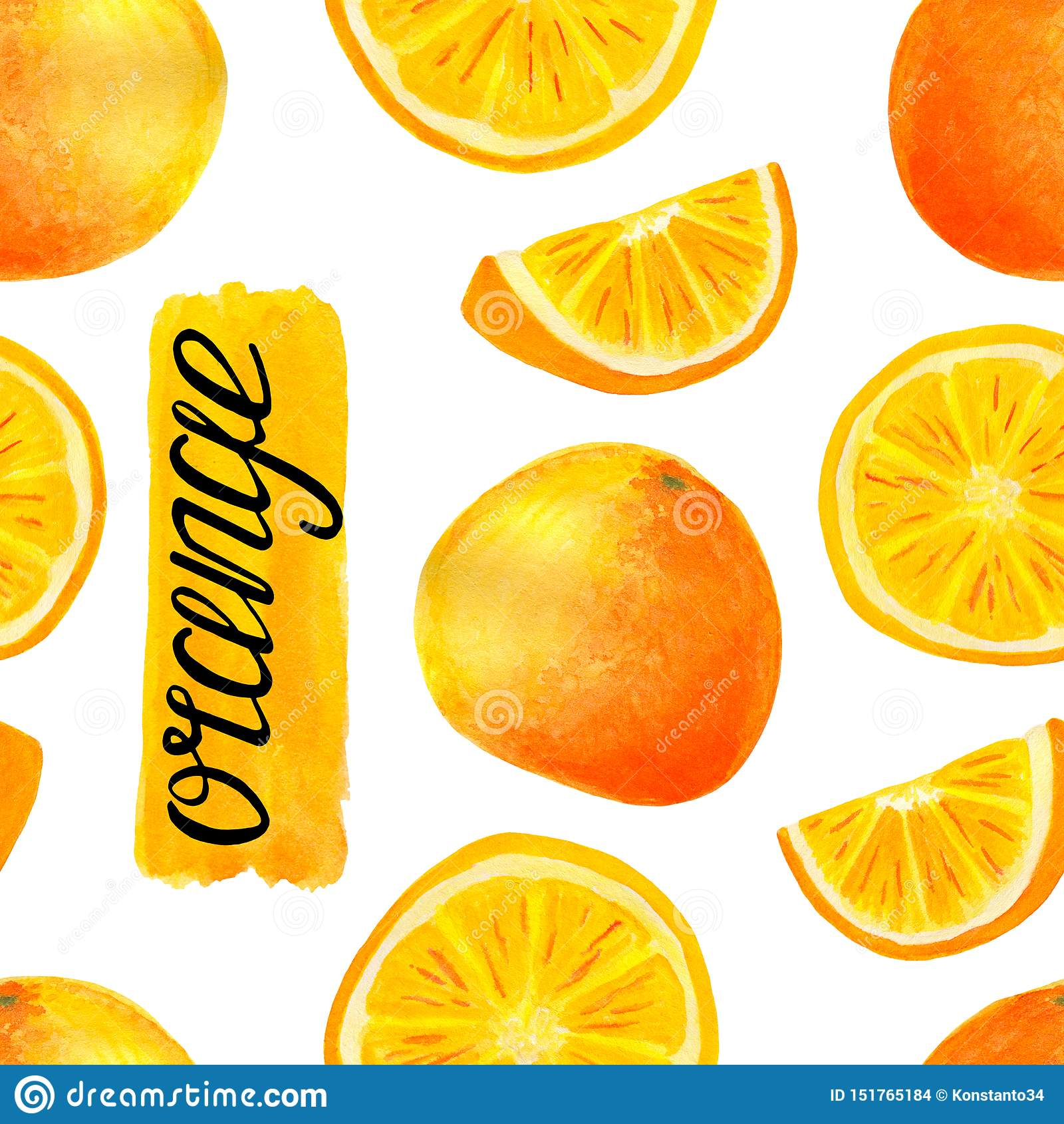 Modelo inconsútil de la fruta anaranjada de la acuarela Rebanadas pintadas a mano de la fruta cítrica con poner letras a caligraf
