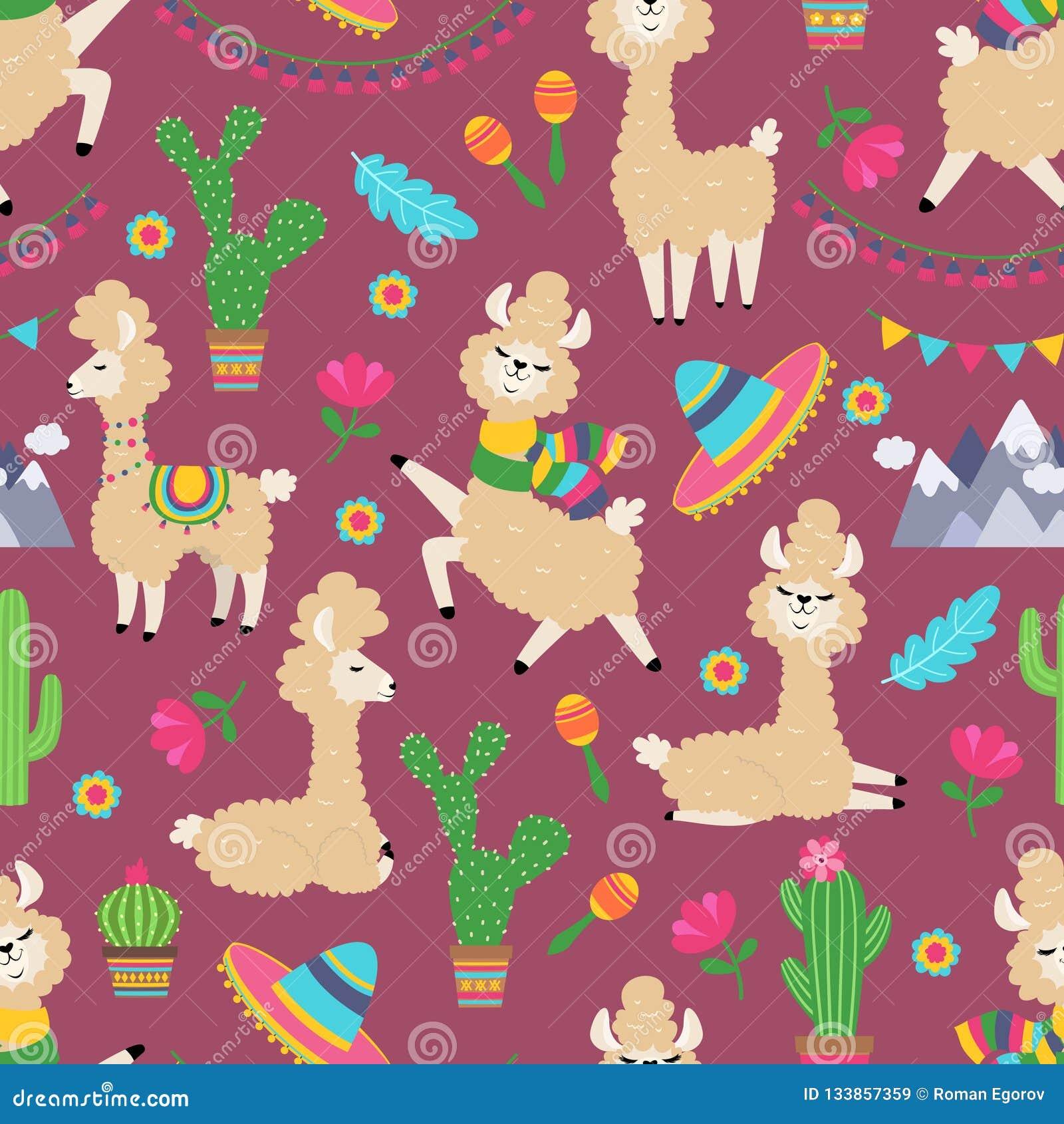 Modelo inconsútil de la llama Textura femenina de la materia textil del bebé y del cactus de la alpaca Concepto tribal del lama