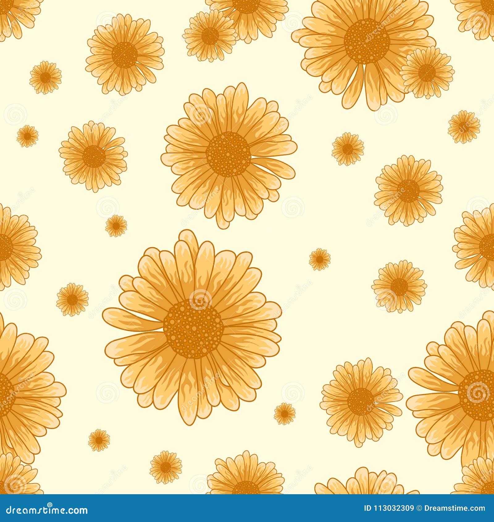 Modelo inconsútil de la manzanilla con las flores anaranjadas en el fondo blanco