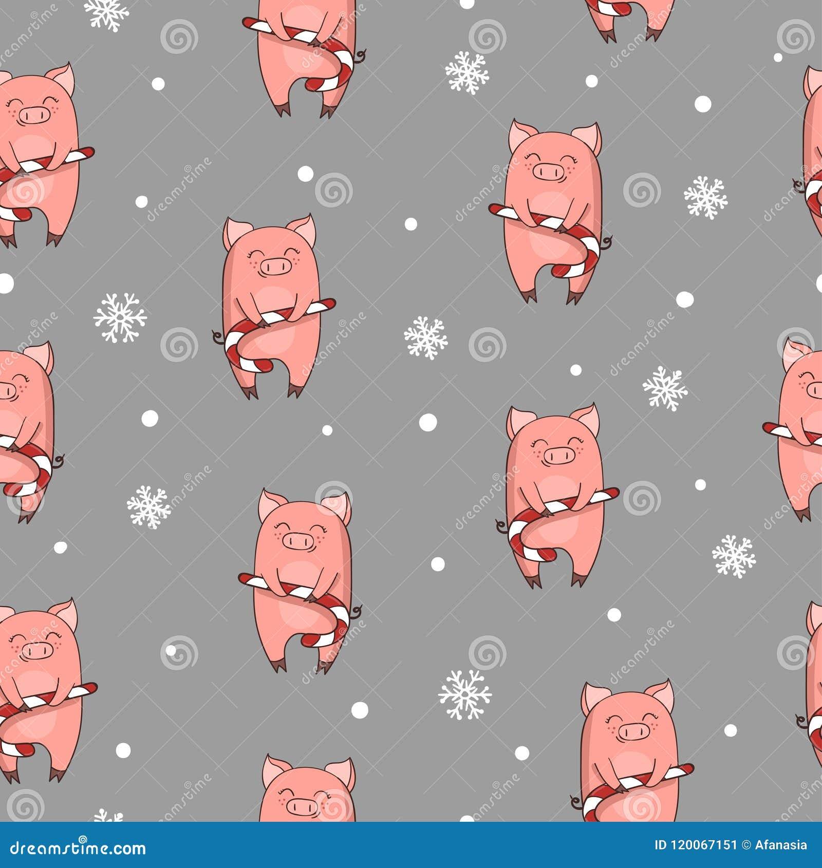 Modelo inconsútil de la Navidad con el cerdo lindo de la historieta con el bastón de caramelo de Navidad
