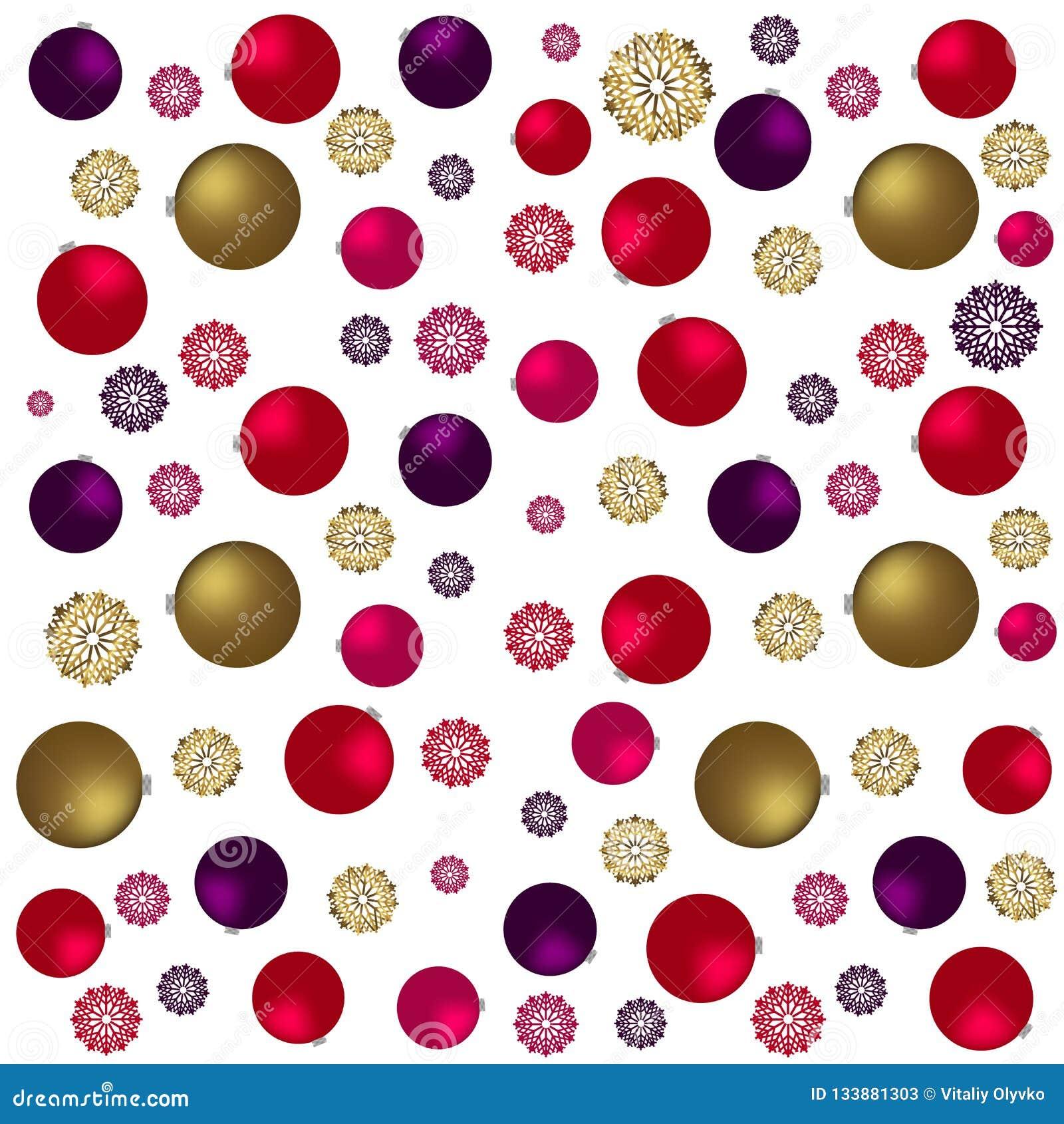 Modelo inconsútil de la Navidad con los juguetes, las estrellas y el caramelo de oro Fondo festivo de Borgoña y del oro