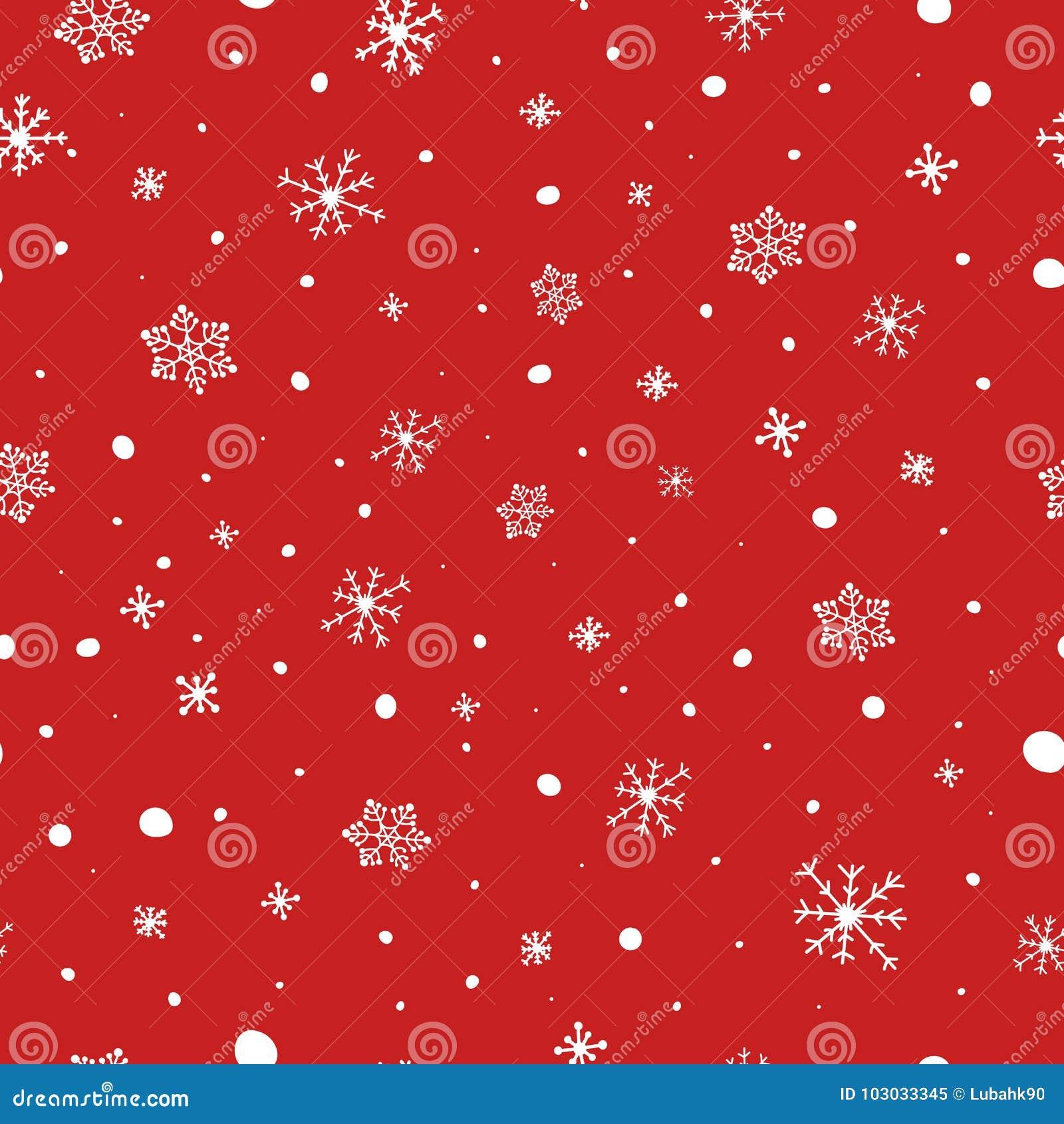 Modelo inconsútil de la Navidad Copos de nieve blancos en fondo rojo Modelo del vector de la nieve que cae Textura de las vacacio