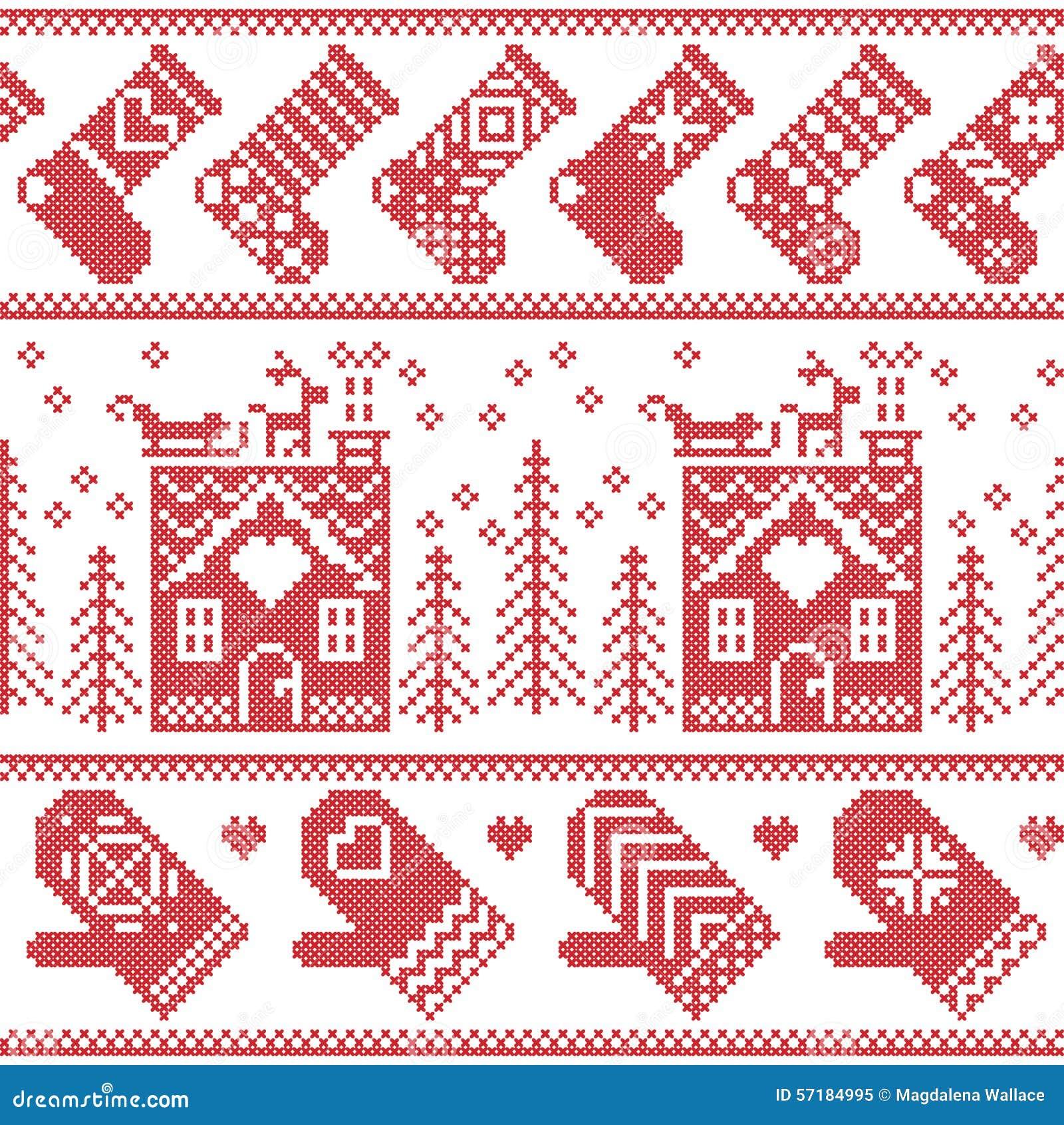 Modelo inconsútil de la Navidad nórdica escandinava con la casa del pan del jengibre, medias, guantes, reno, nieve, copos de niev