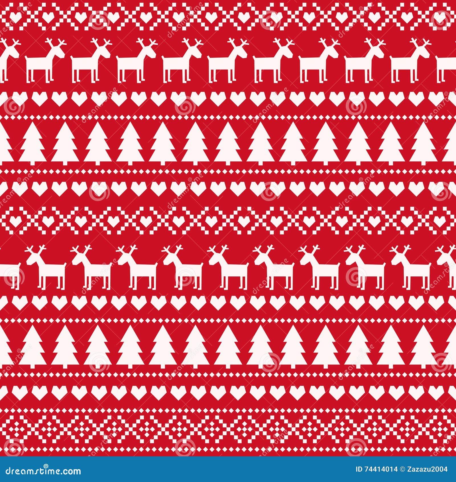 Modelo inconsútil de la Navidad, tarjeta - estilo escandinavo del suéter