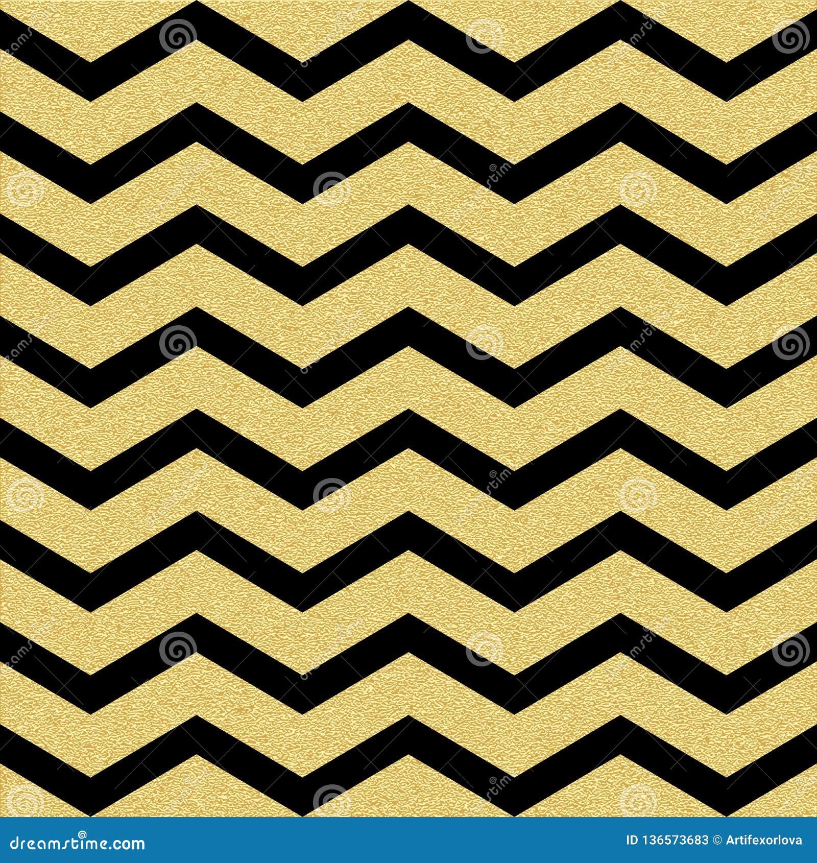 Modelo inconsútil de la onda del galón del oro que brilla Plantilla clásica del zigzag EPS 10