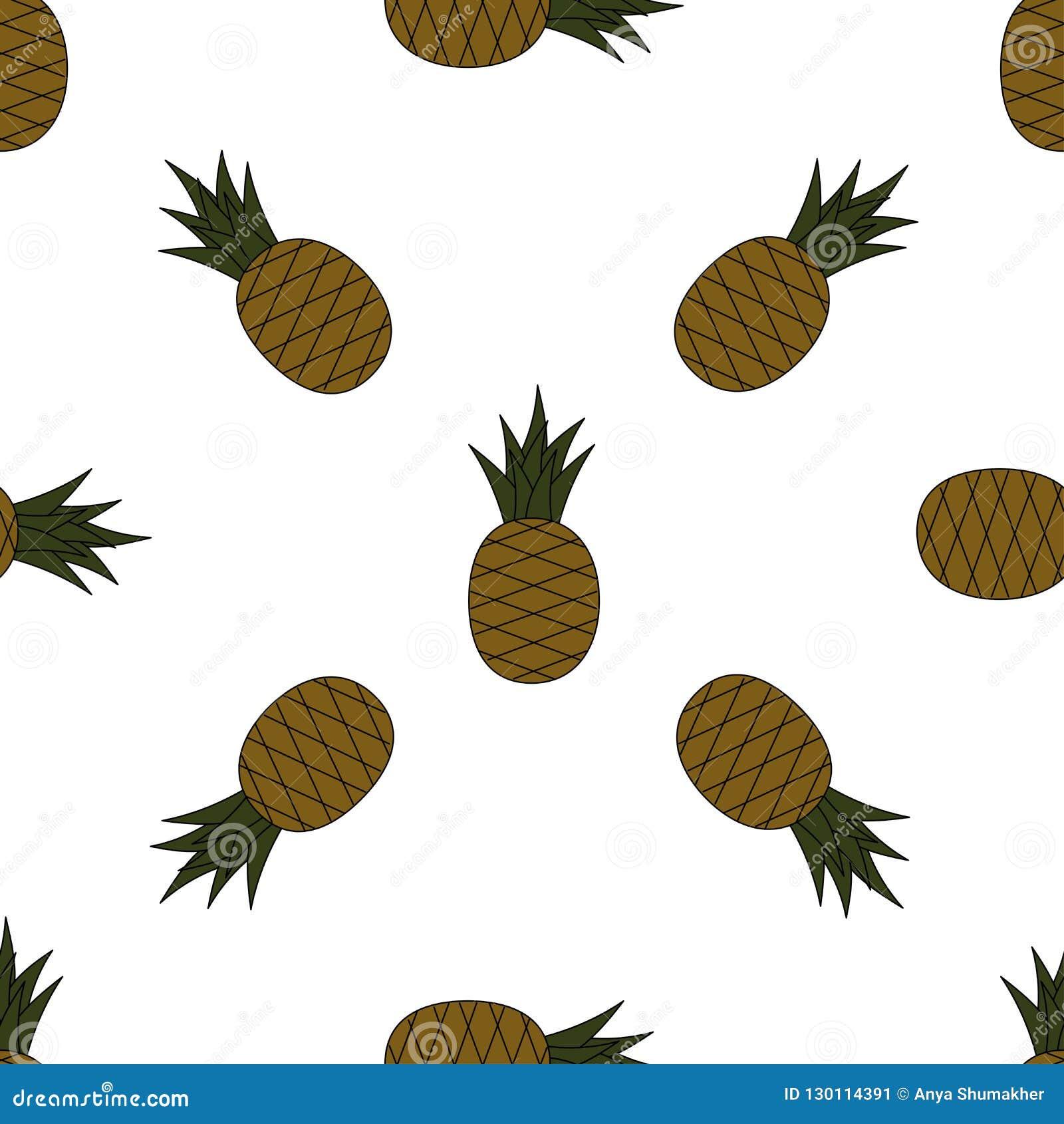 Modelo inconsútil de la piña Piñas de la historieta en el fondo blanco Modelo de las frutas tropicales para la materia textil, pa