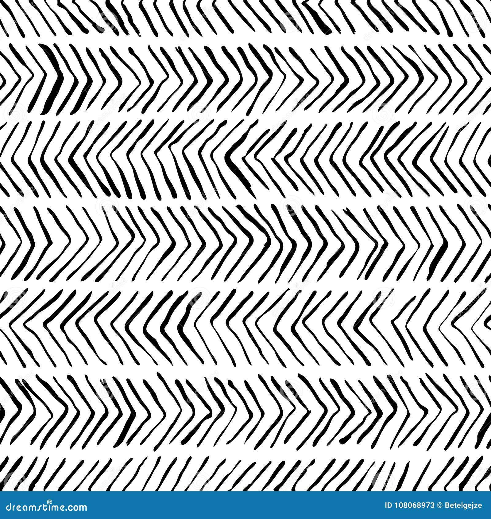 Modelo inconsútil de la raspa de arenque blanca negra del vector Acuarela, fondo de la tinta Diseño escandinavo, impresión de la