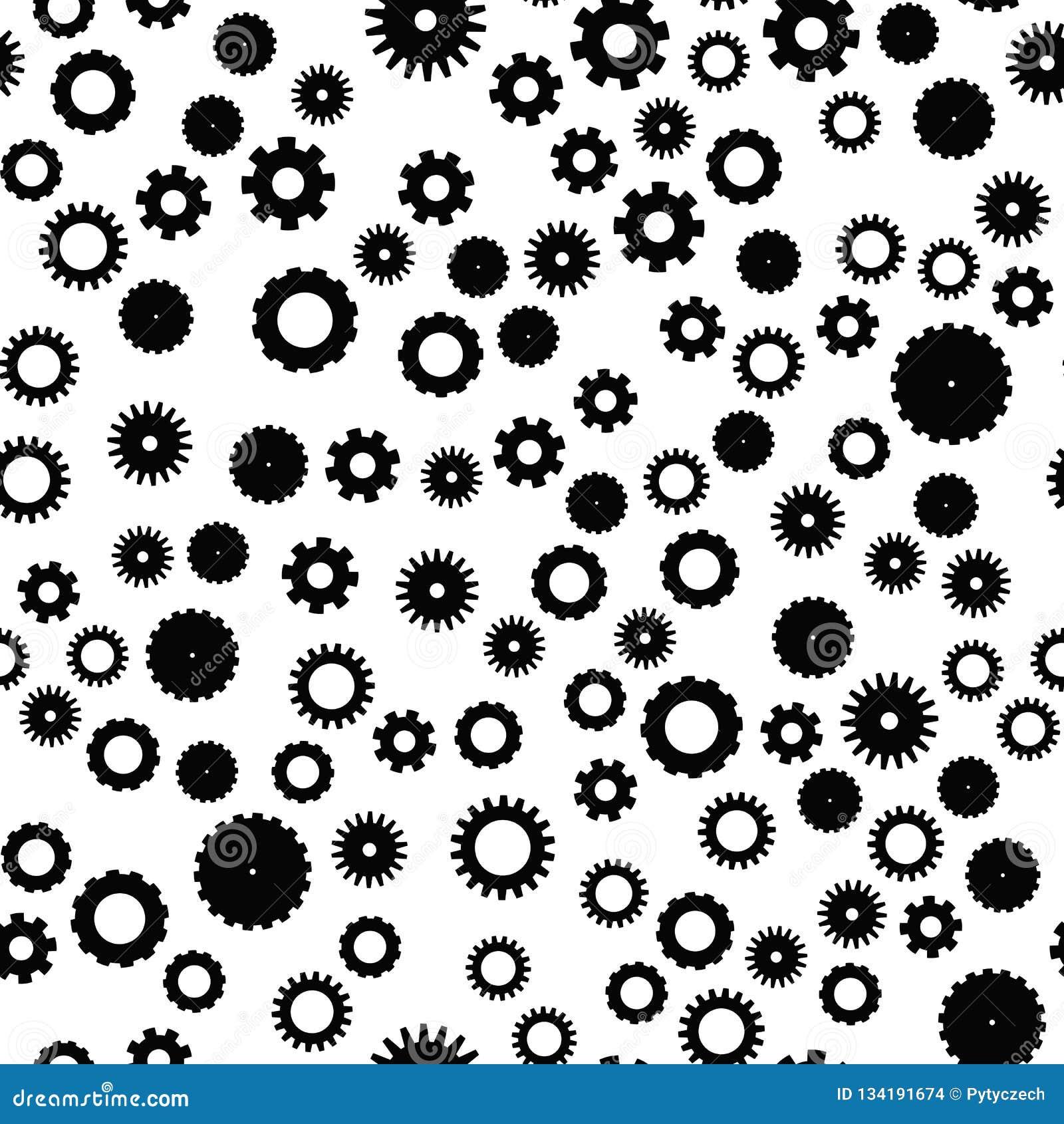 Modelo inconsútil de la rueda del diente Tema del mecanismo, tecnológico o industrial Fondo plano del vector en blanco y negro