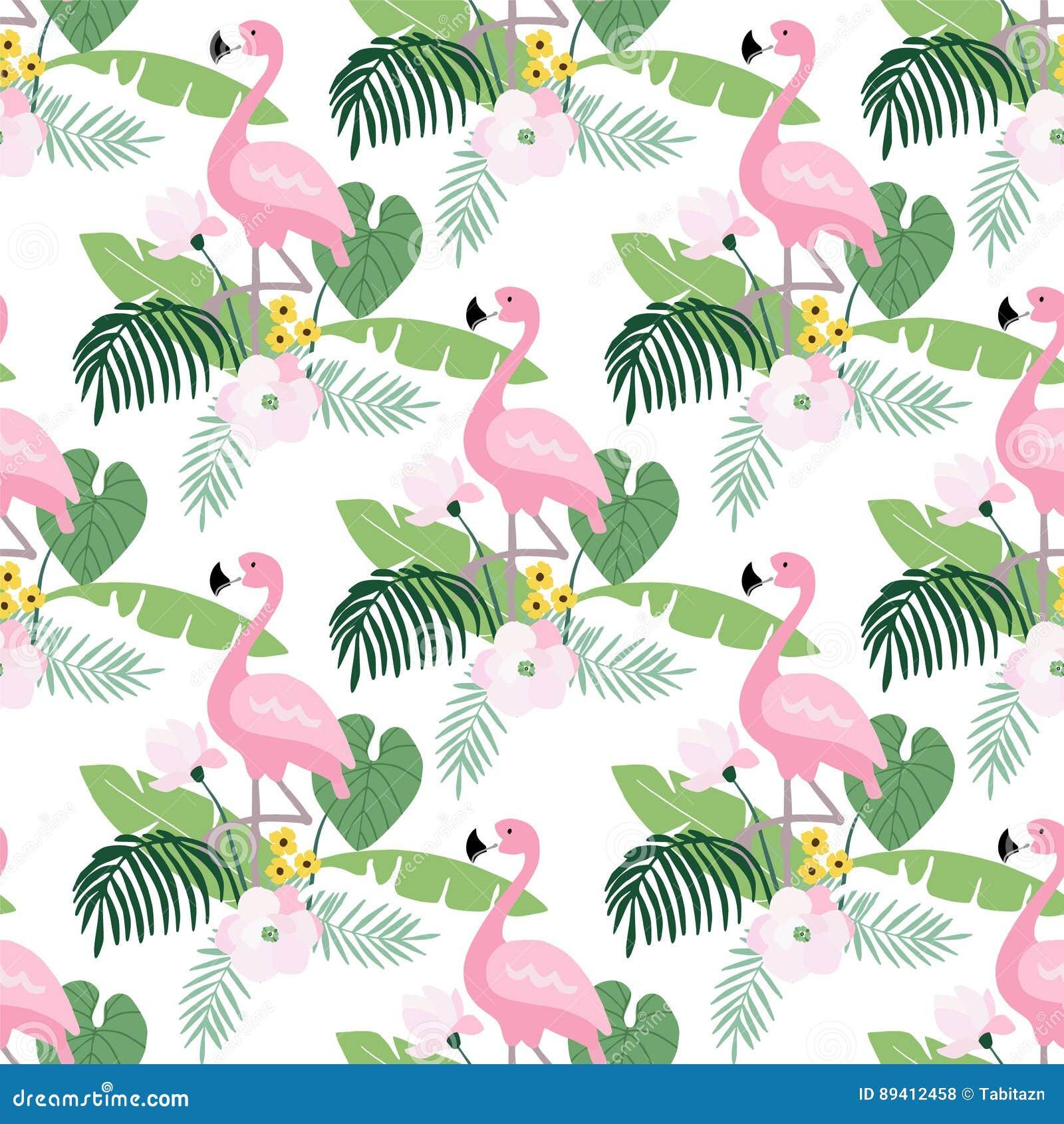 Modelo inconsútil de la selva tropical con el pájaro del flamenco, hojas de palma y magnolia o flores de loto Diseño plano, vecto