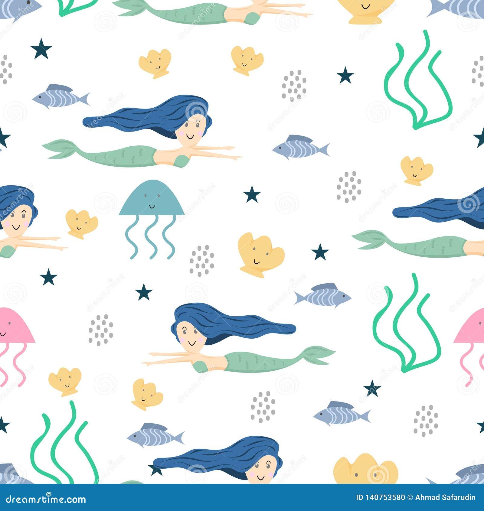 Modelo inconsútil de la sirena linda con el fondo colorido de dibujo infantil para los niños de las vacaciones de verano, bebé, a