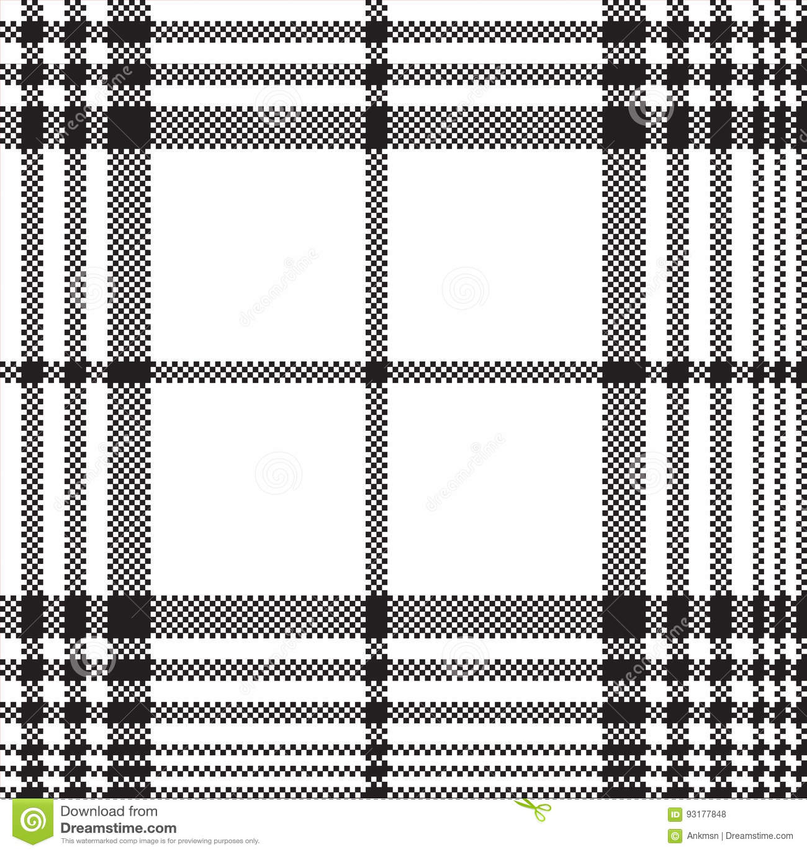 Modelo inconsútil de la tela escocesa blanco y negro del control de los pixeles