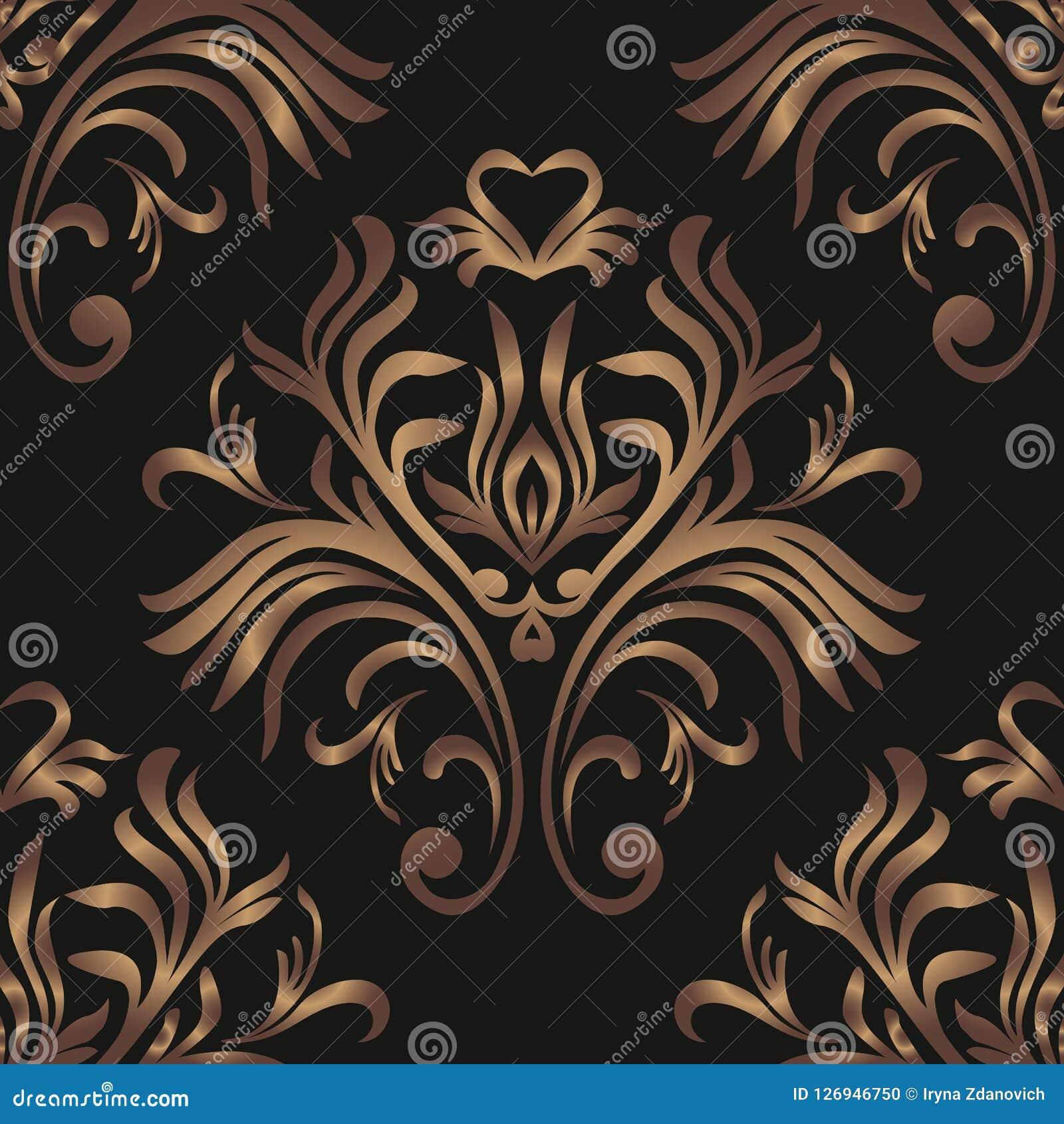Modelo inconsútil de la vendimia Papel pintado adornado floral Fondo oscuro del damasco del vector con los ornamentos y las flore
